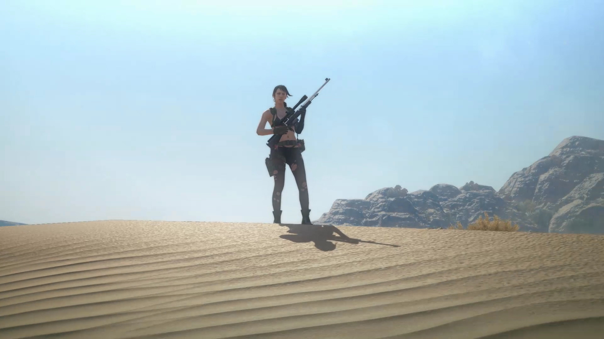 """Res: 1920x1080, Quiet, striking a pose in the desert as part of her """"Main character  standing in the distance looking cool"""" class for Mother Base."""