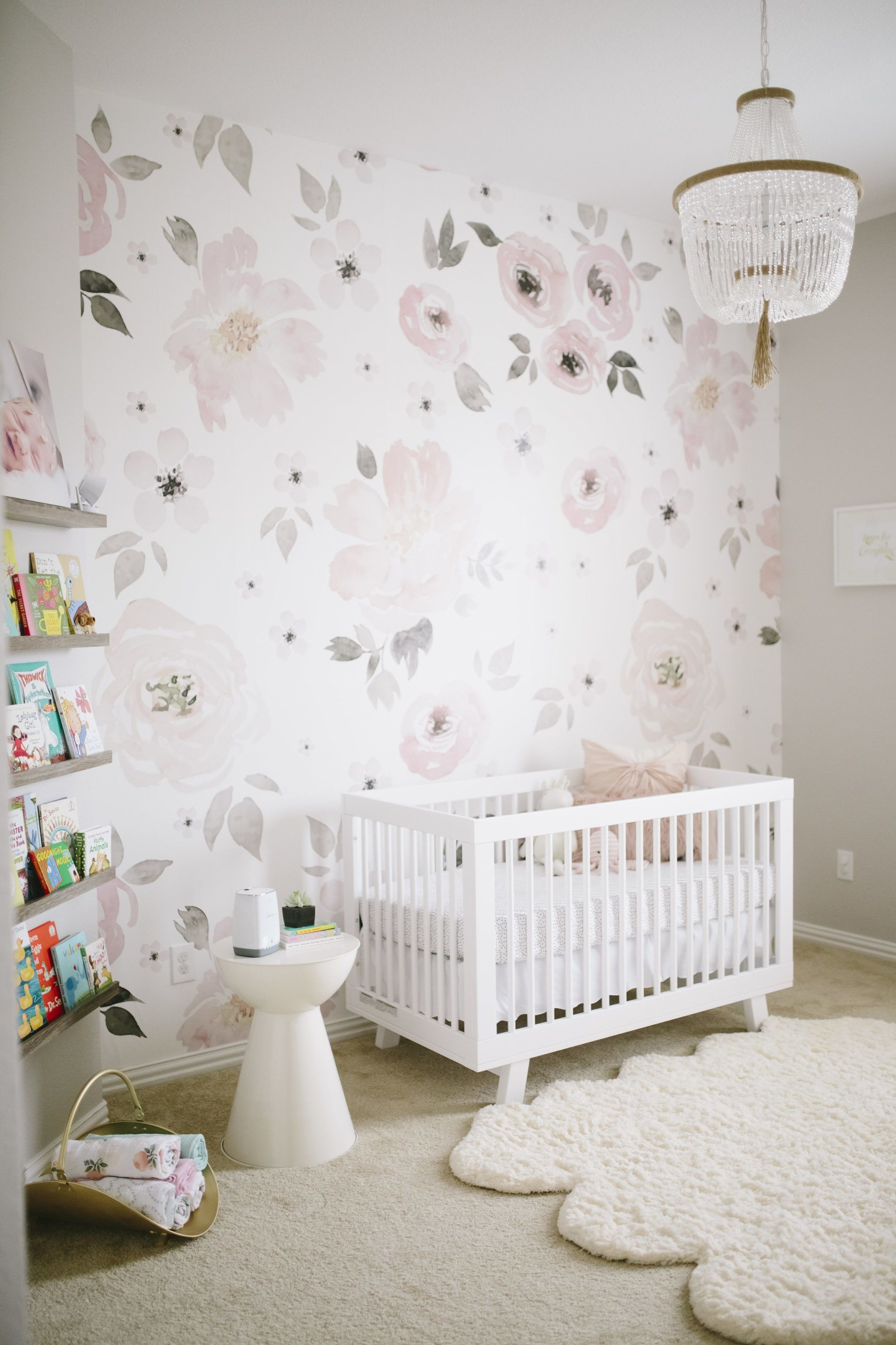 Res: 2048x3072, Floral Wallpaper in Pink and Gray Girl Nursery