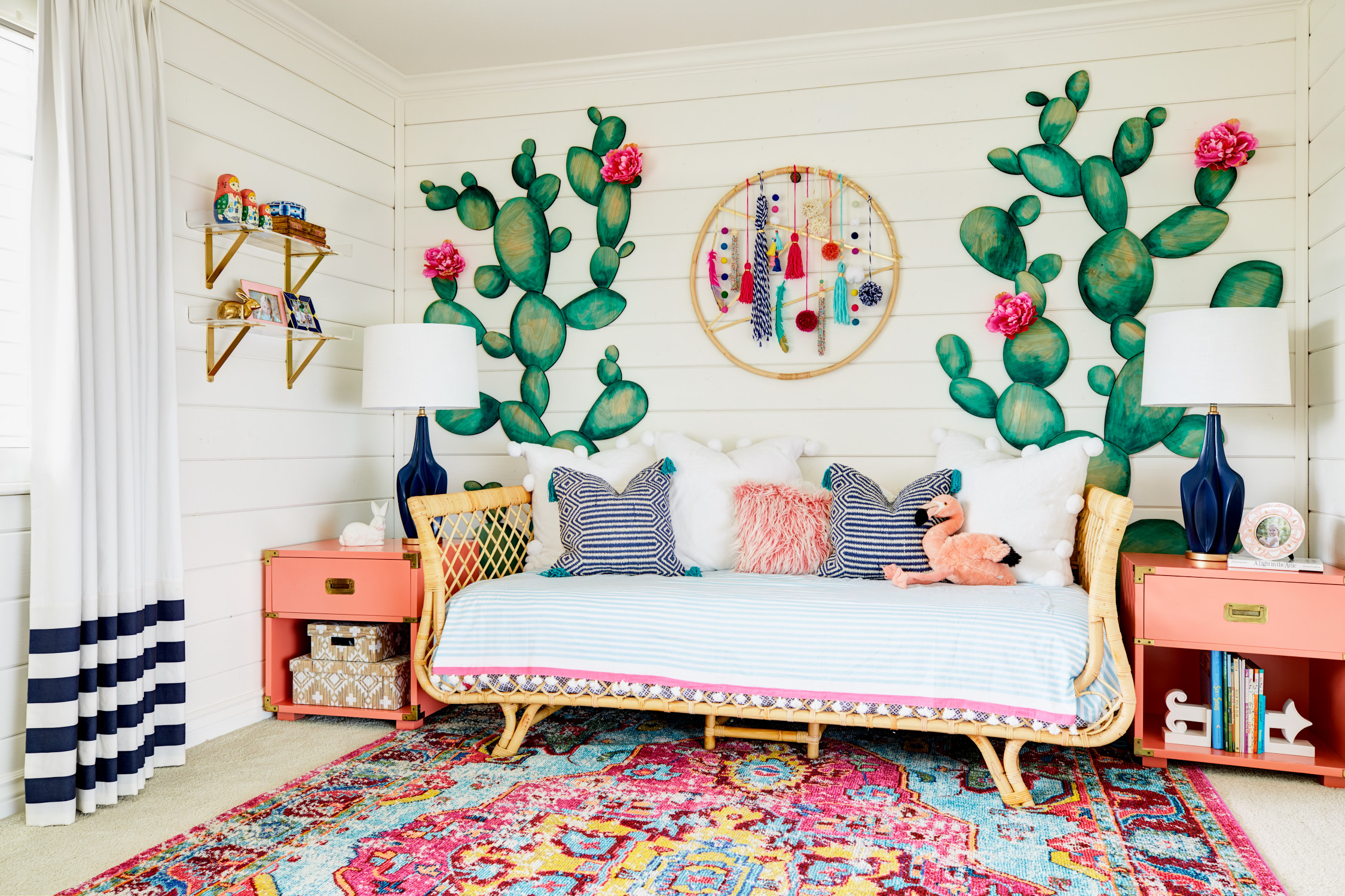 Res: 2250x1500, Boho Girl's Room with Cactus Accent Wall and Modern Colorful Dreamcatcher
