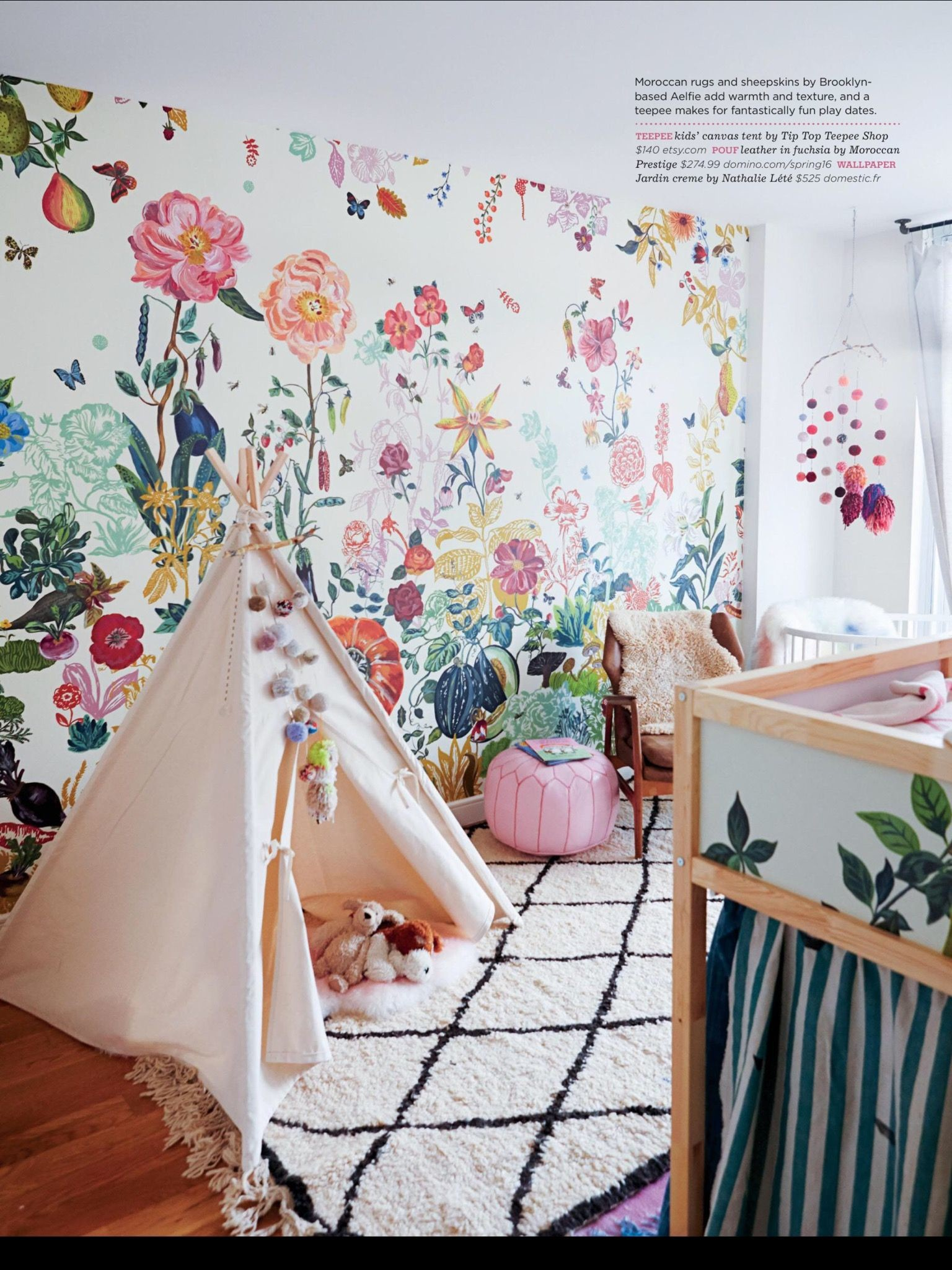 Res: 1536x2049, Stokke Sleepi mini crib in white spotting in this colorful eclectic nursery room featured in DOMINO MAGAZINE