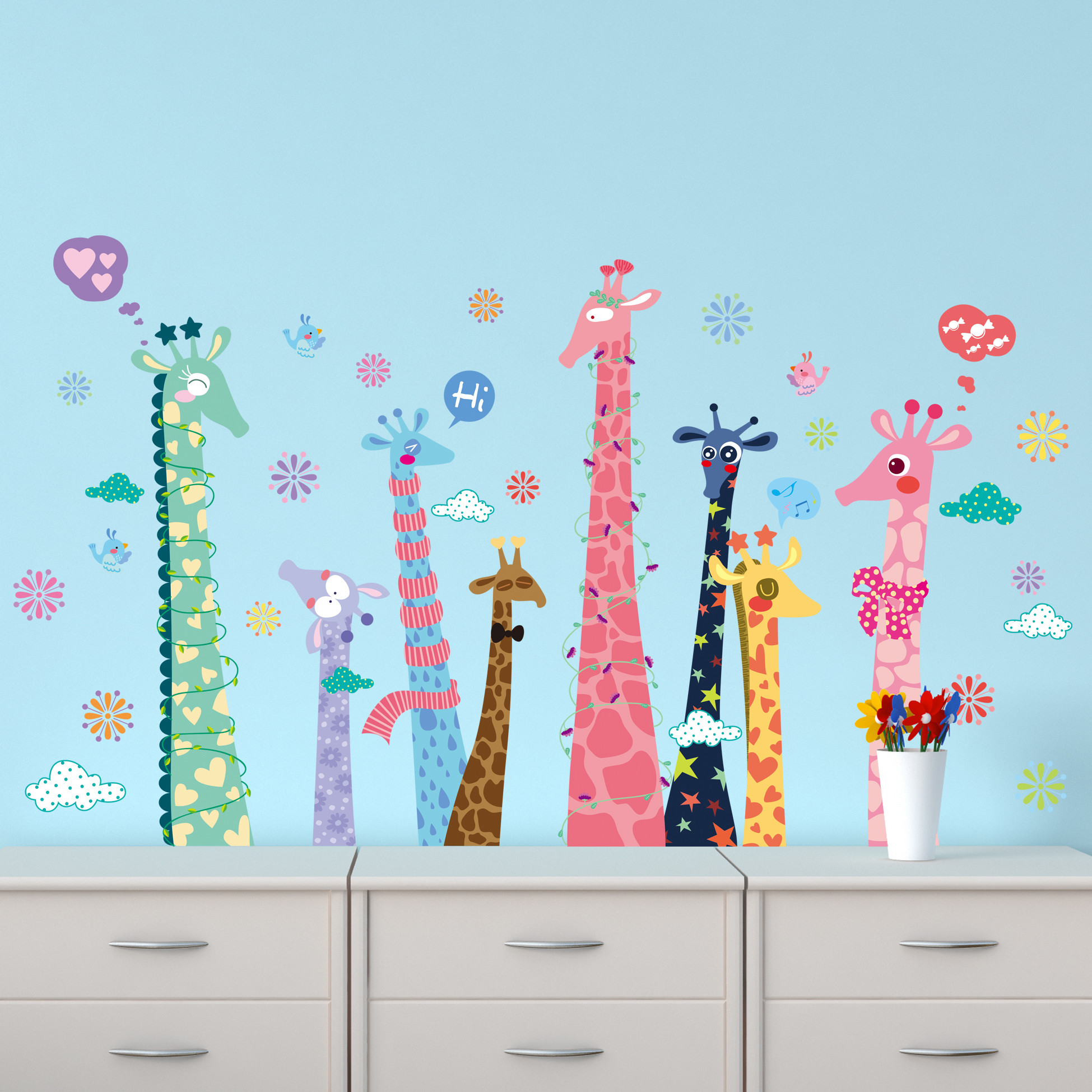 Res: 1949x1949, Colorful color giraffe Wallpaper For Kids Rooms Home Decor Art Decals 3D Sofa Bedroom house decoration DIY Vinyl Wall Stickers-in Wall Stickers from Home ...