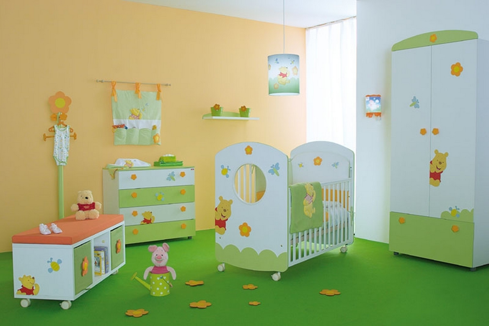 Res: 2014x1342, Stylish And Peaceful Winnie The Pooh Room Decorations Baby For Decor  Imanada Bedroom Nursery With Green Color Schemes Boy