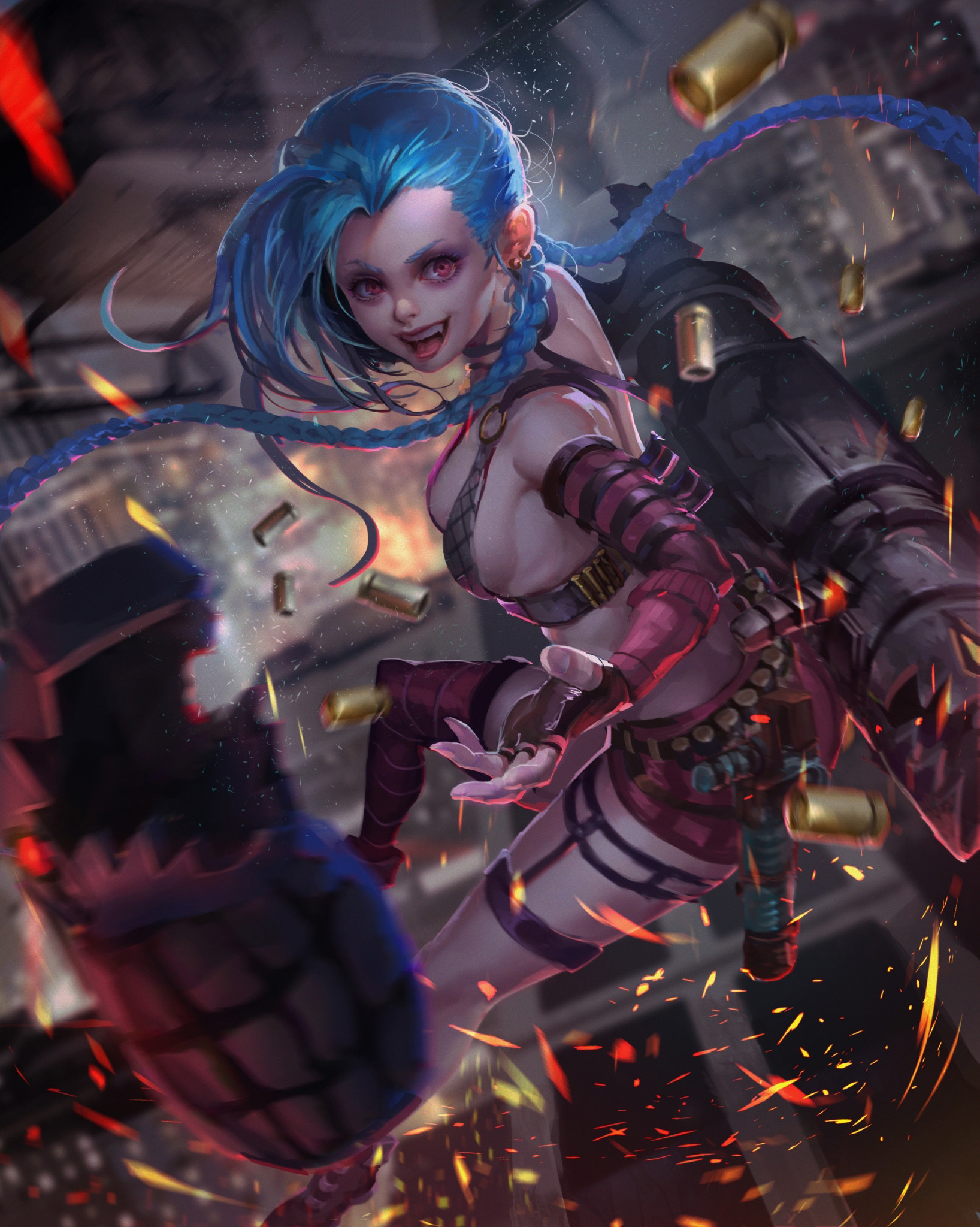 Res: 1636x2048, Jinx by Crow Tian HD Wallpaper Background Fan Art Artwork League of Legends  lol