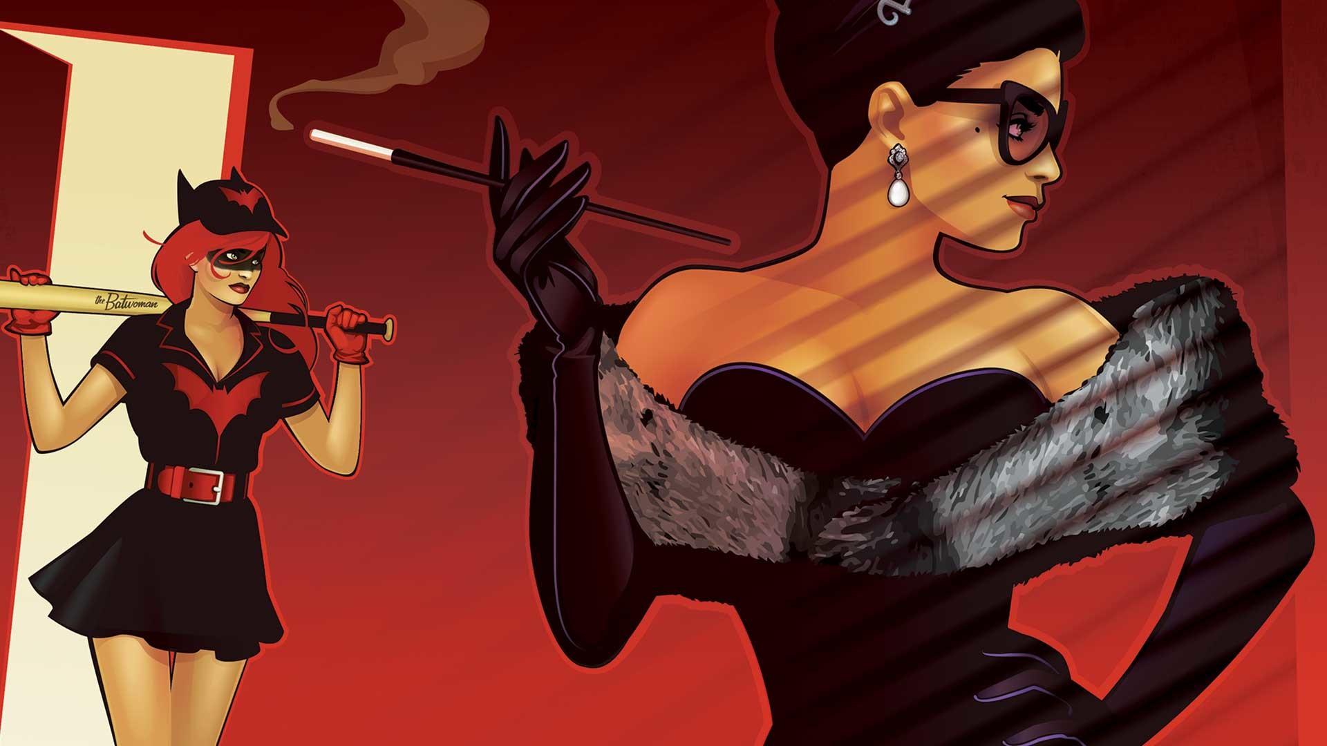 Res: 1920x1080, Comics - Bombshells Batwoman Catwoman DC Bombshells Wallpaper