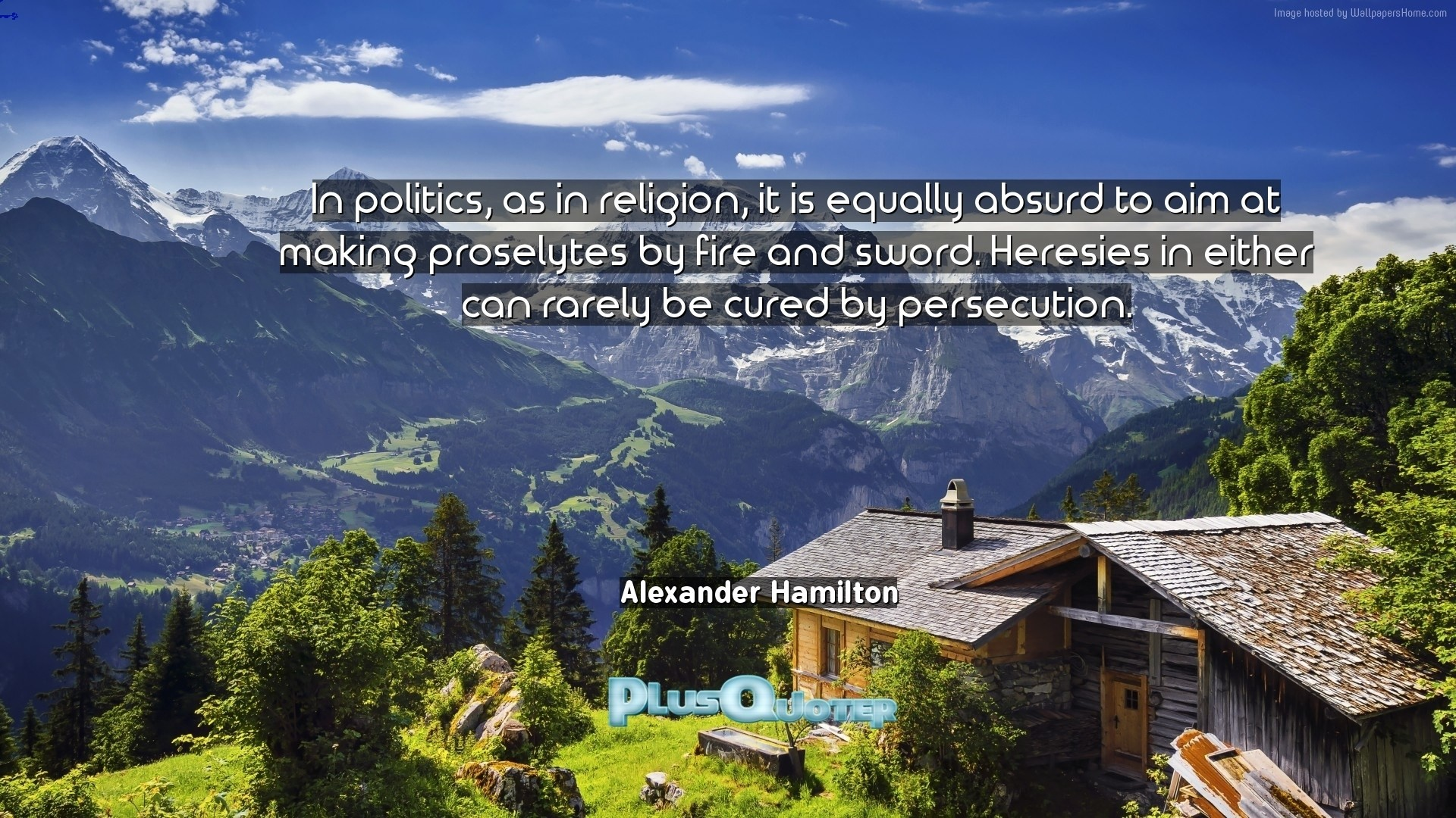 "Res: 1920x1080, Download Wallpaper with inspirational Quotes- ""In politics, as in religion,  it is"
