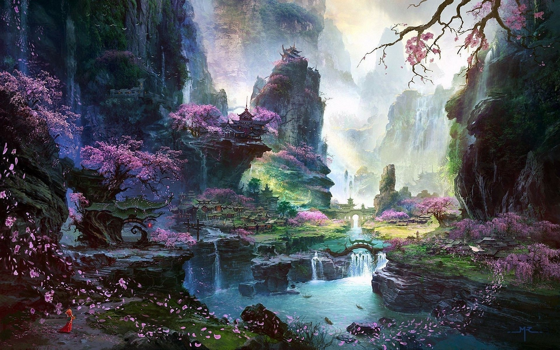 Res: 1920x1201, Waterfall river landscape Asia Art Sakura trees temple. Android wallpapers  for free.