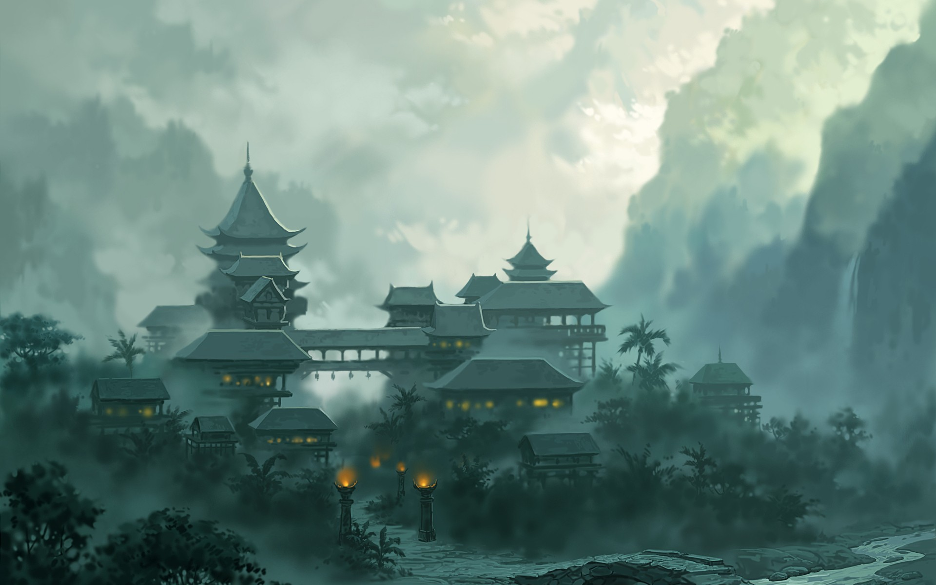 Res: 1920x1200, Asian Architecture HD Wallpaper