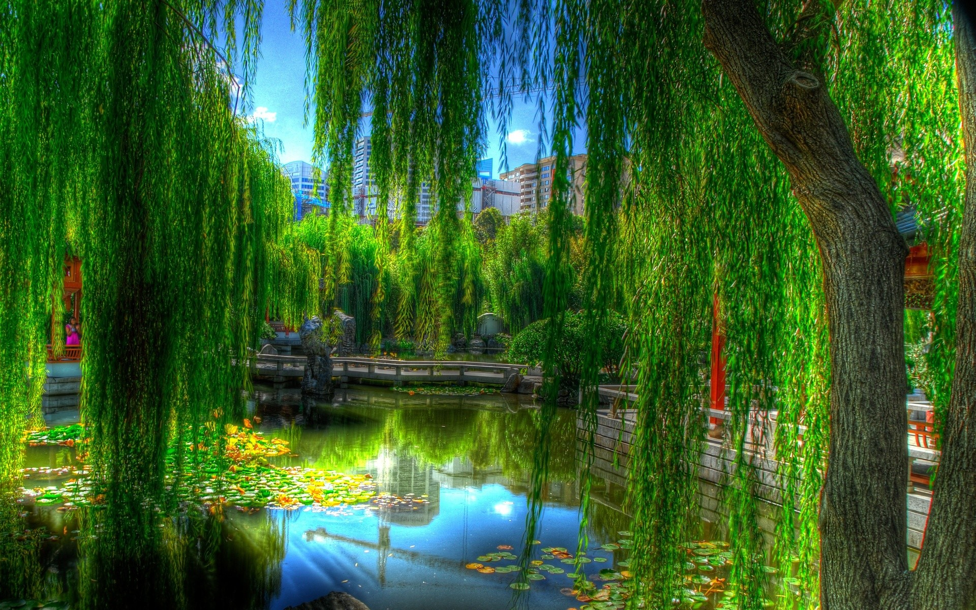 Res: 1920x1200, Landscapes nature lakes asian oriental reflection trees green colors garden  artistic wallpaper |  | 24188 | WallpaperUP