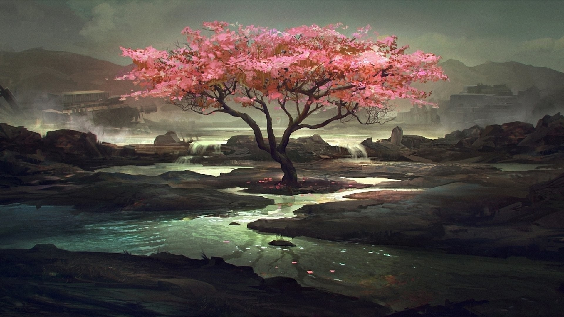 Res: 1920x1080, Artistic - Oriental Landscape Scenic Tree Flower Rock Lake Wallpaper