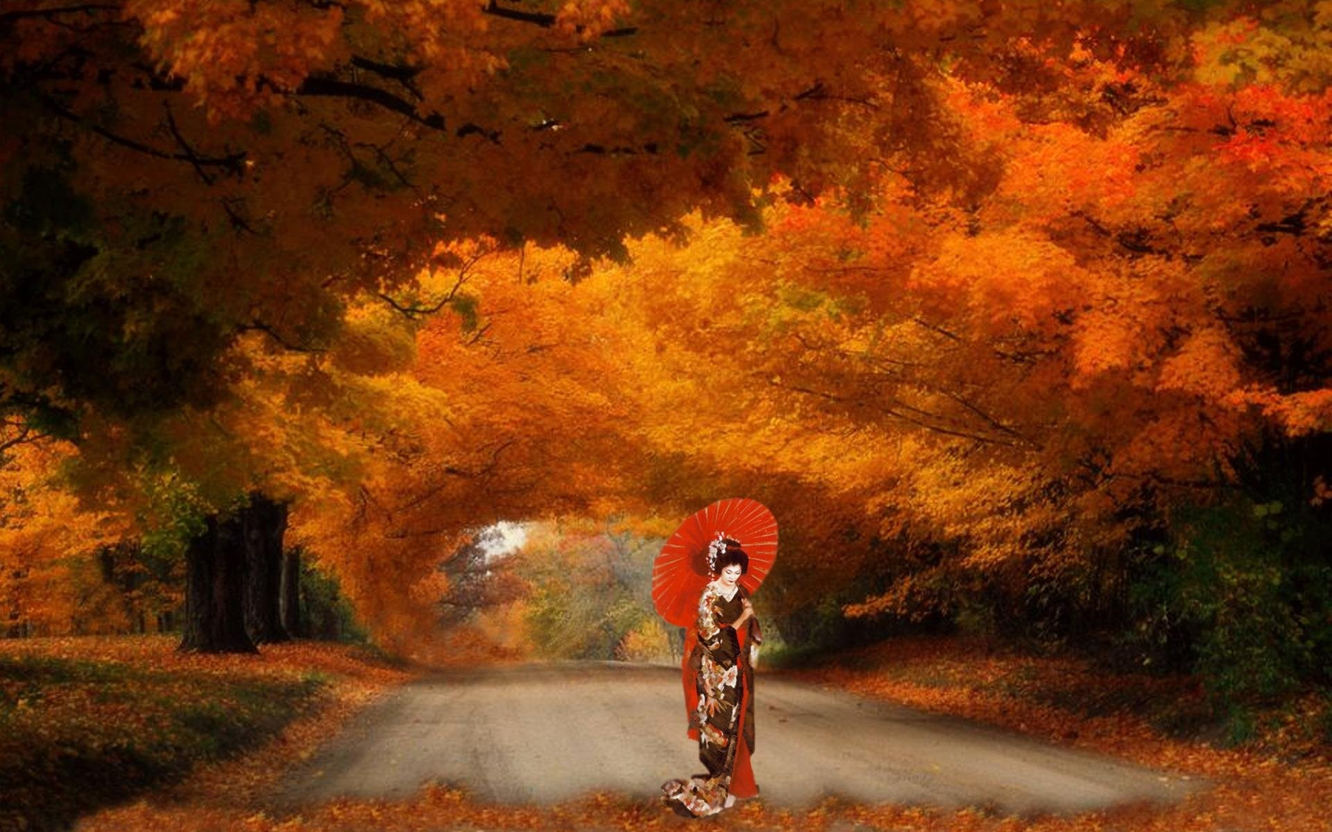Res: 1920x1200, path, hd vector images,autumn, mood,android, fall, landscape, windows, asian,  umbrella, free geisha, trail, nature, leaf, oriental, tree, leaves, forest,  ...