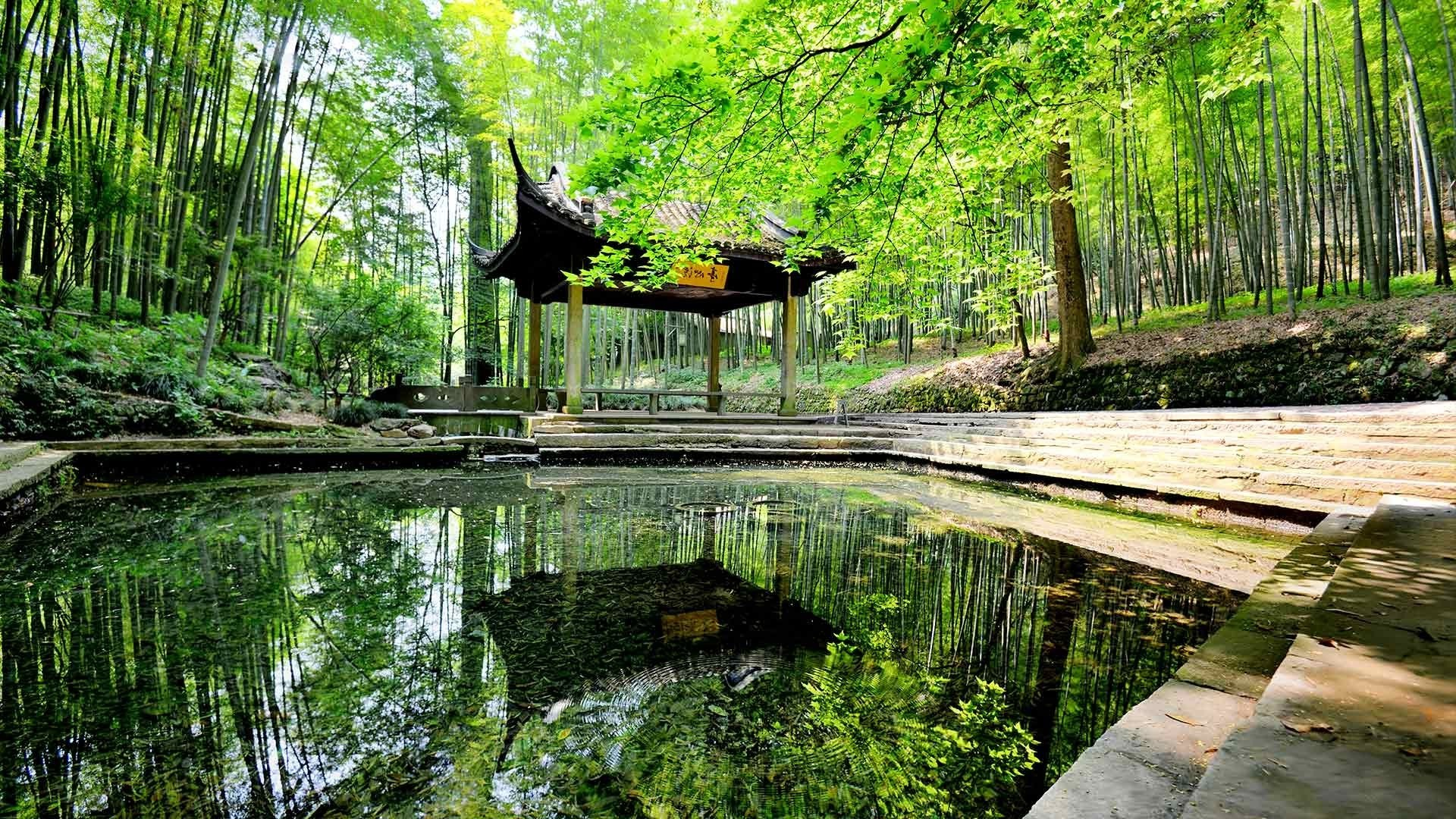 Res: 1920x1080, nature, Landscape, Architecture, Building, Asian Architecture, China,  Pagoda, Water, Trees, Forest, Lake, Reflection, Leaves Wallpapers HD /  Desktop and ...