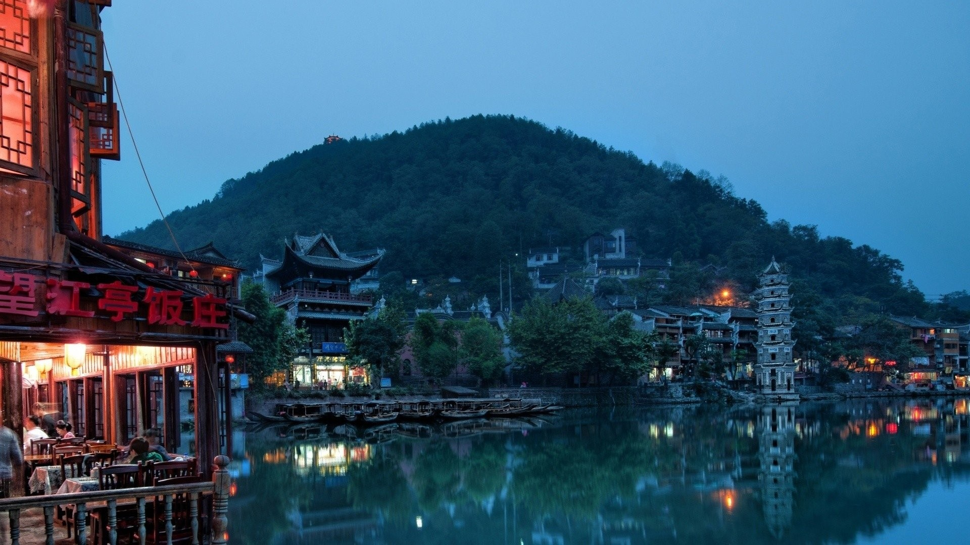 Res: 1920x1080, China house buildings hills trees lake water night sunset lights city  landscape reflection town asian oriental village wallpaper |  |  560790 | ...