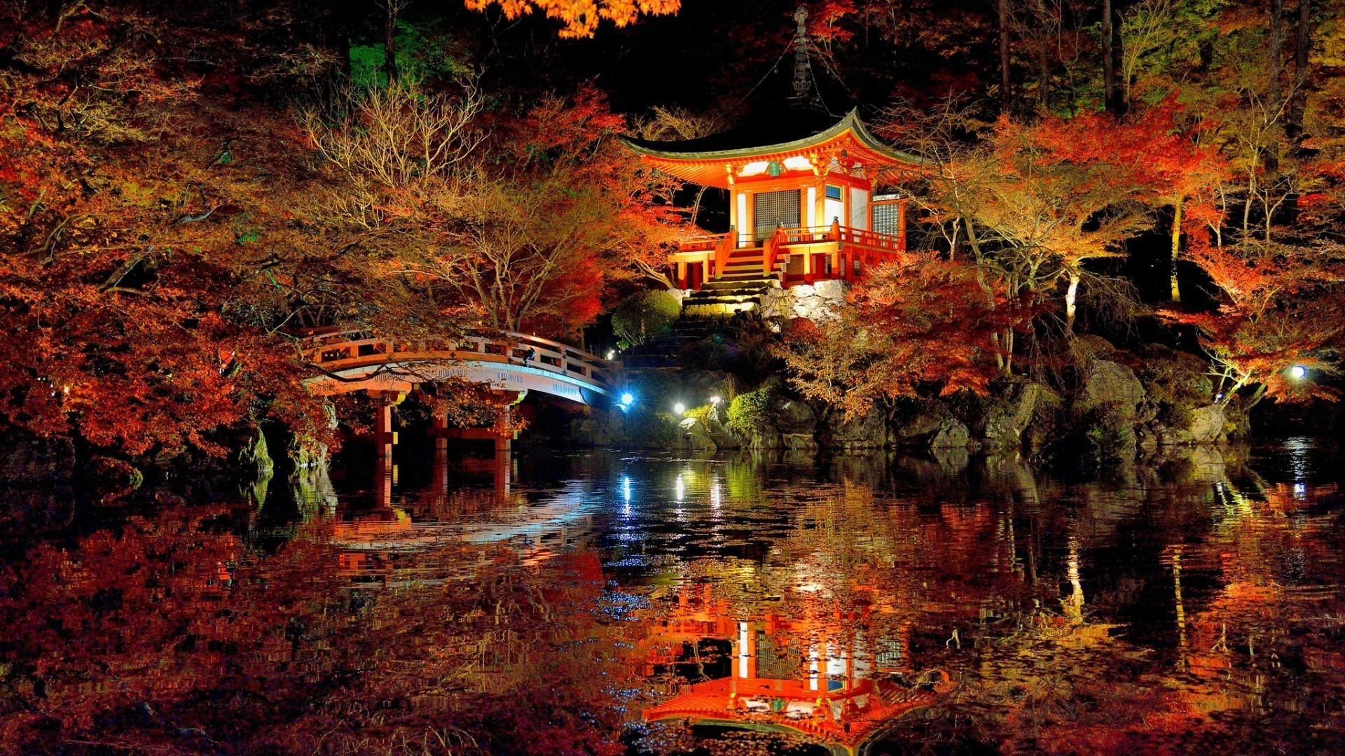Res: 1920x1080, nature, Trees, Forest, Leaves, Fall, Branch, Japan, Bridge, Night, Asian  Architecture, Lights, Lake, Water, Rock, Reflection, Stairs Wallpapers HD /  Desktop ...