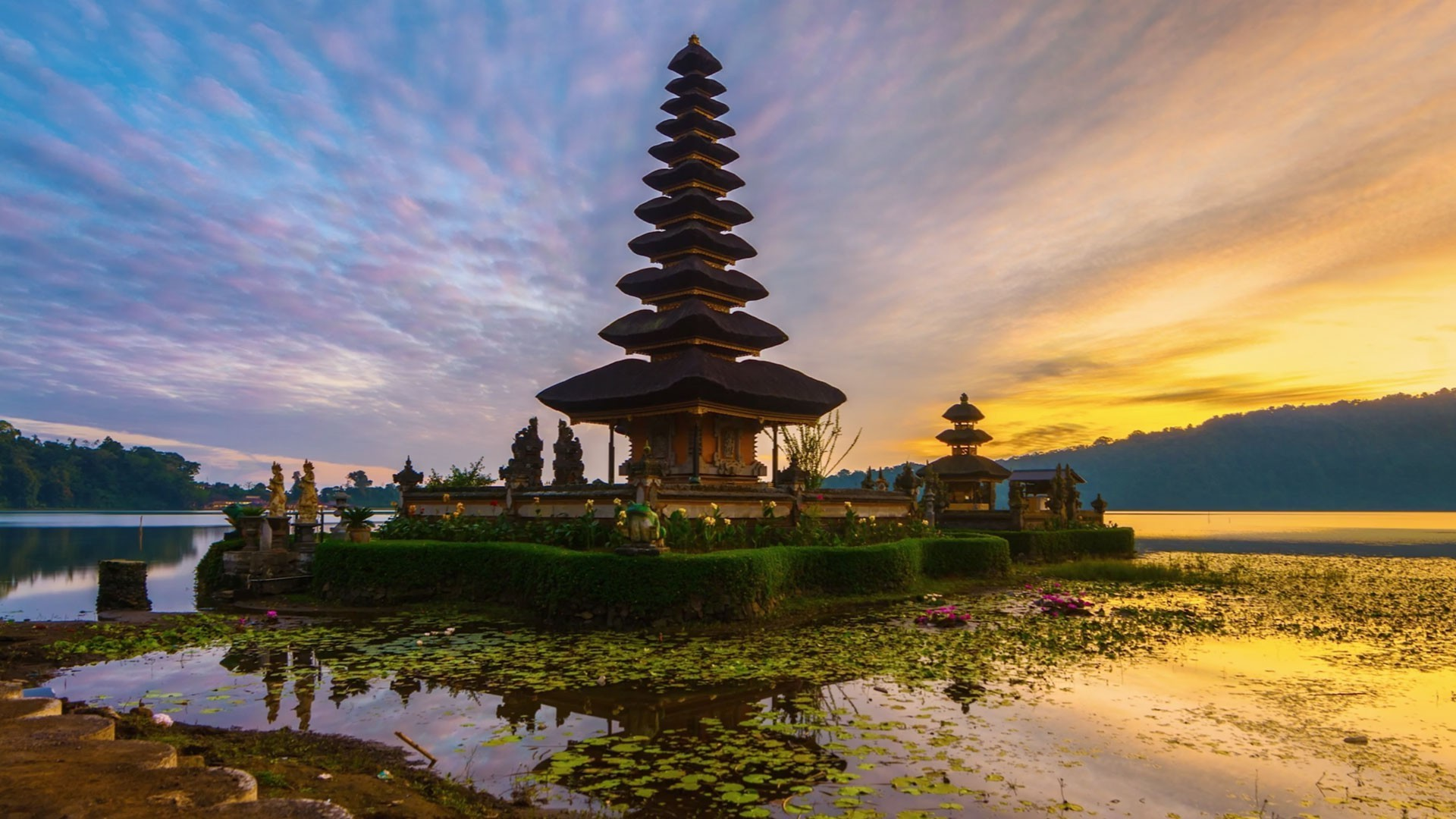Res: 1920x1080, nature landscape architecture building asian architecture temple bali  indonesia island water lake plants sunset trees forest clouds reflection  wallpaper and ...