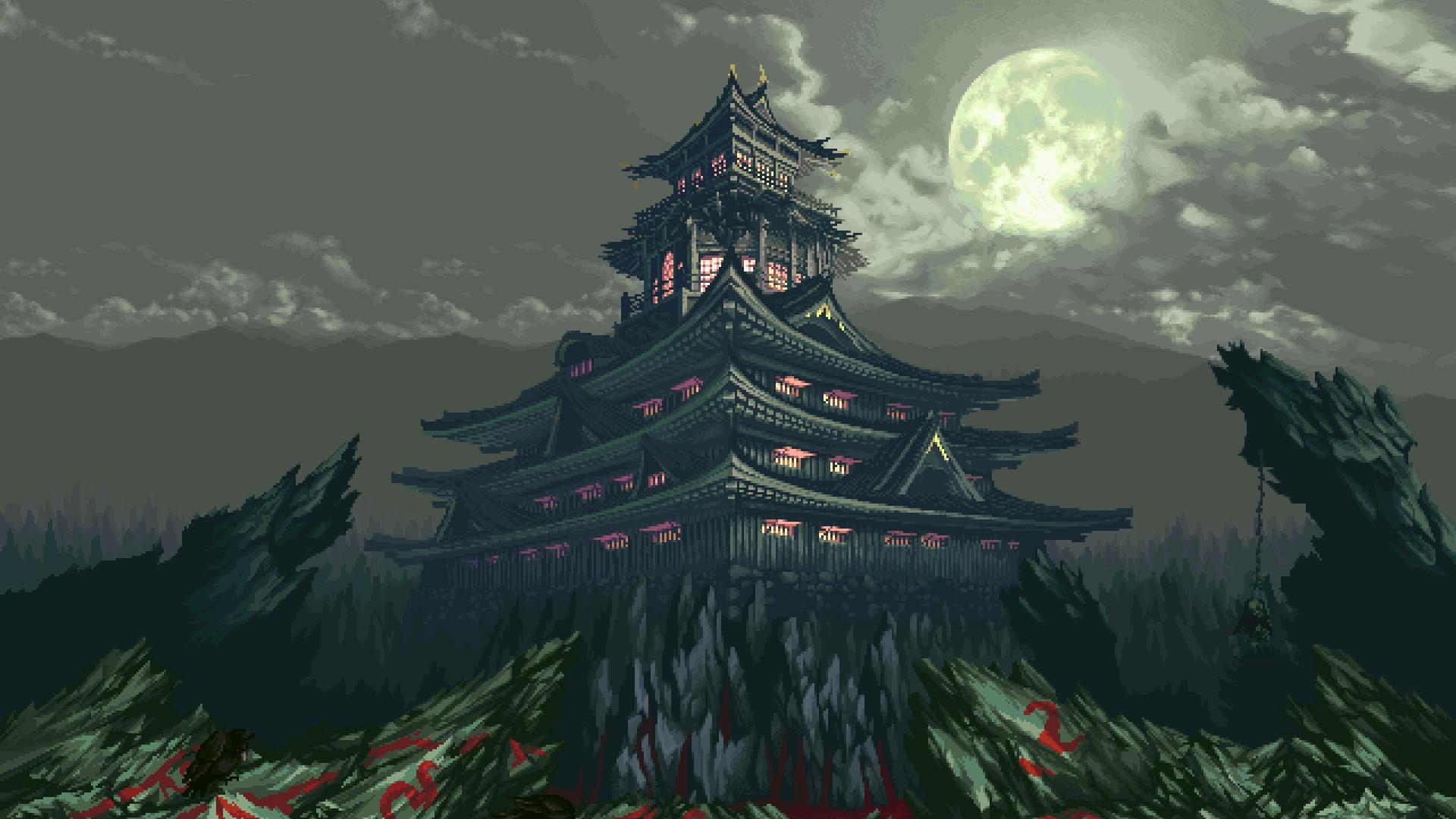 Res: 1920x1080, pixels pixel art 8 bit rock asian architecture house moon clouds wallpaper  and background