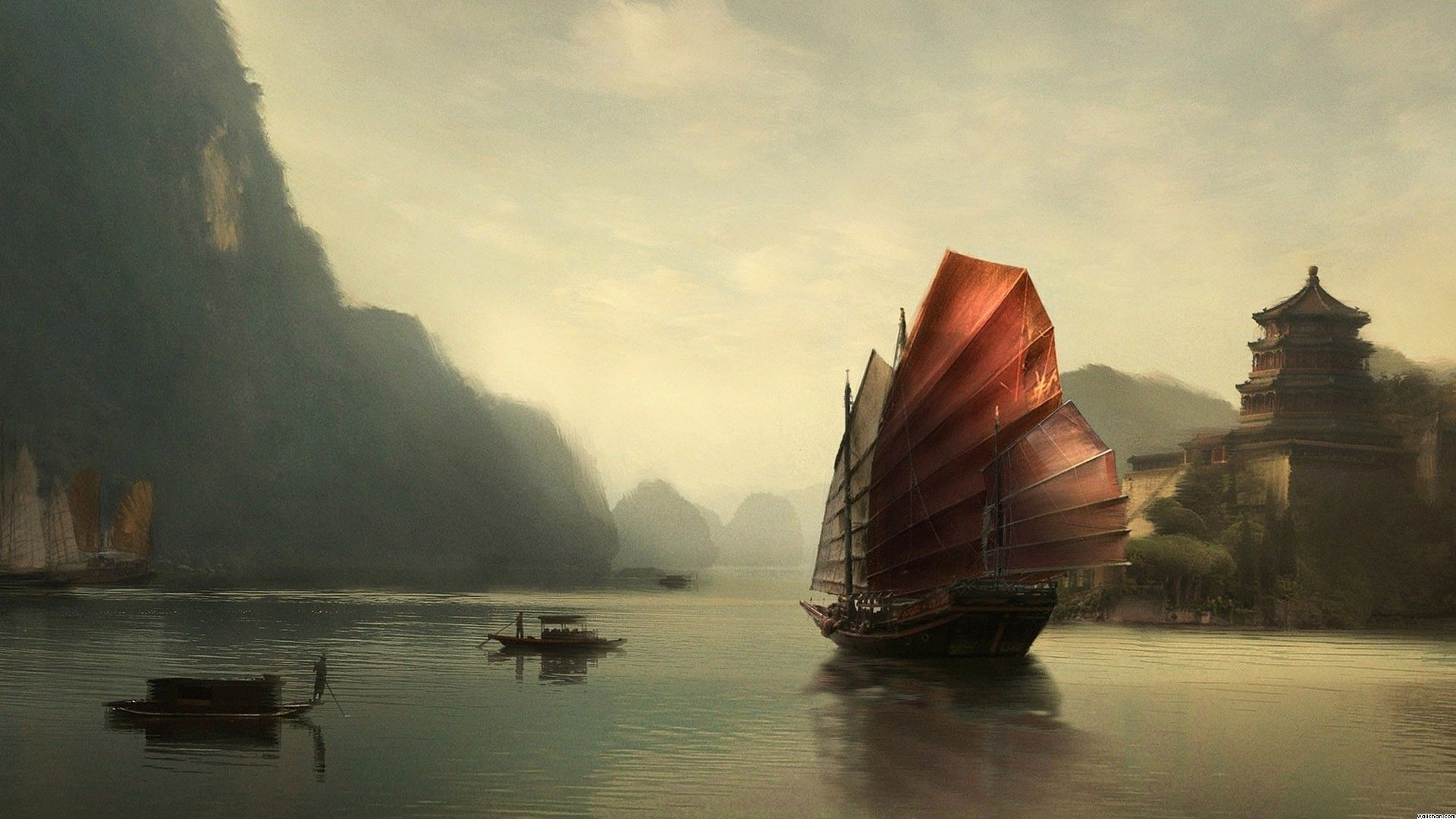 Res: 1920x1080, free Junk Ship Chinese Painting wallpaper, resolution : 1920 x tags: Junk,  Ship, Chinese, Painting.