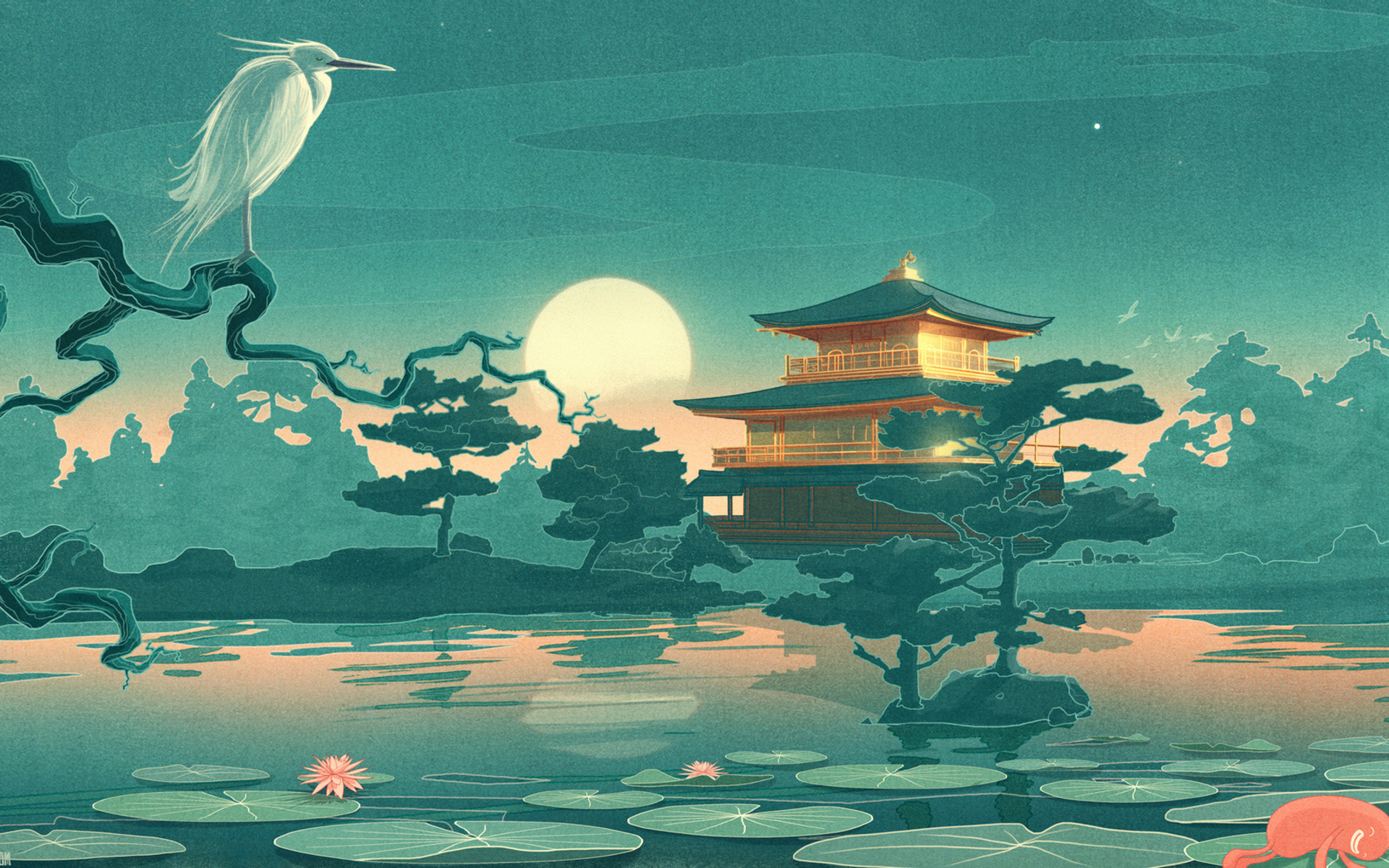 Res: 1920x1200, Thefoxisblack_com asian oriental cultural lakes ponds gardens nature art  animals birds crane flowers lily lilies sky moon reflection mood  architecture ...