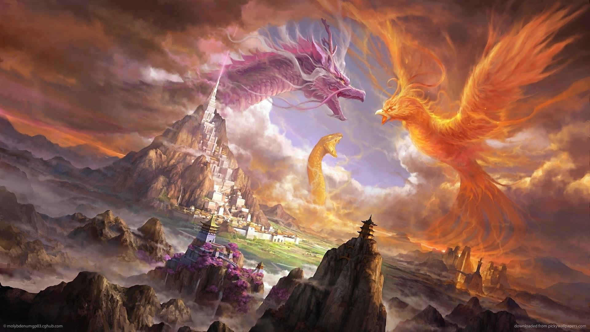 Res: 1920x1080, ... monster, dragon,fantasy, pheonix, asian, oriental, art, landscapes,  amazing, digital art, battle, tablet backgrounds castle,download Wallpaper  HD