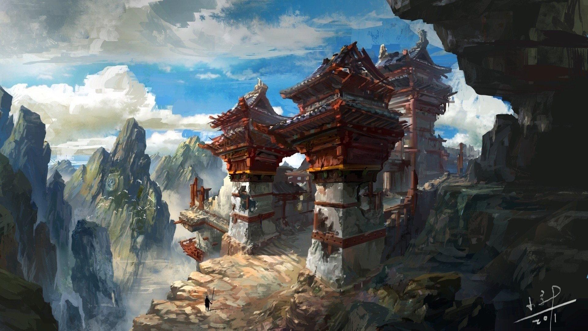 Res: 1920x1080, artwork asia clouds fantasy art landscapes mountains