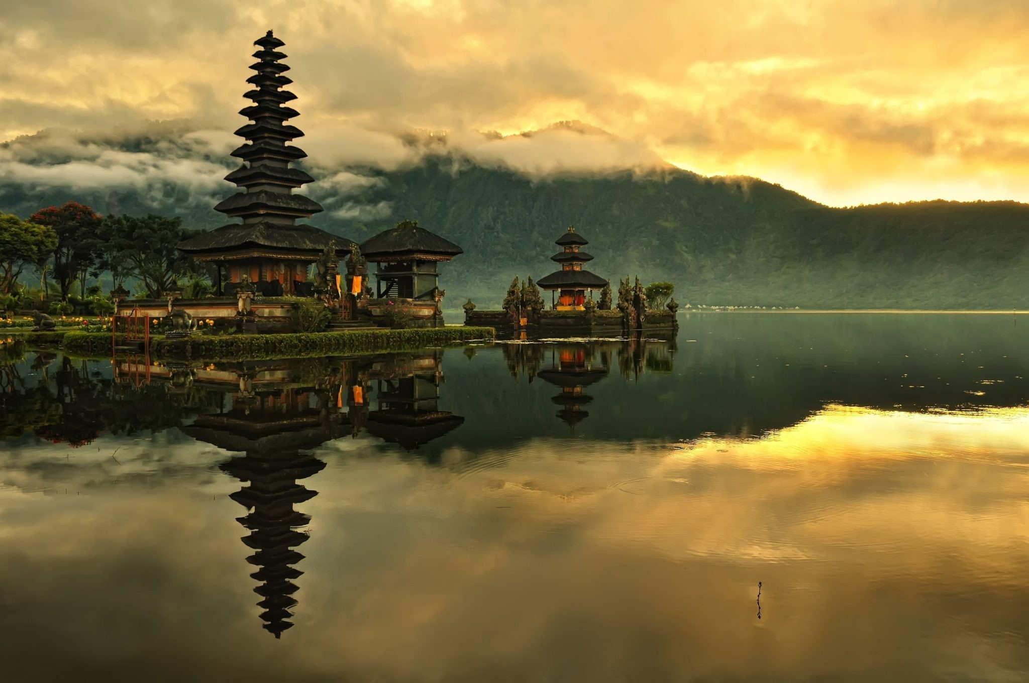 Res: 2048x1360, nature landscape water indonesia bali island lake temple asian architecture  clouds sunrise mist trees mountains hills forest reflection morning  wallpaper ...