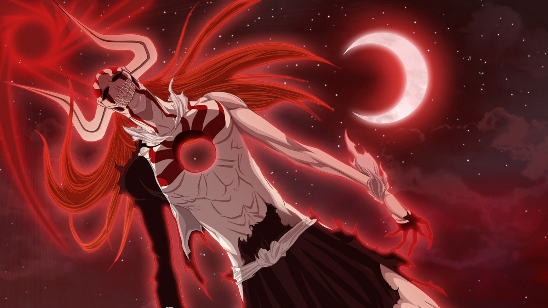 Res: 1920x1080, Bleach, Kurosaki Ichigo, Hollow, Clouds, Moon, Vasto Lorde, Crescent moon.  Trigun ...