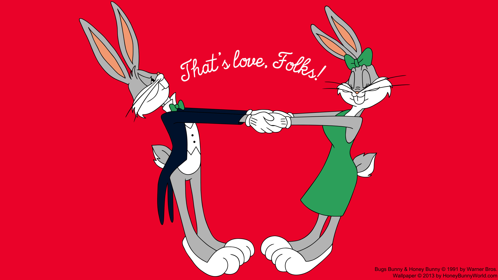 Res: 1920x1080, Everybunny loves some bunny, and Bugs Bunny loves Honey Bunny! And in this  wallpaper you can see how sincere and true their love is.