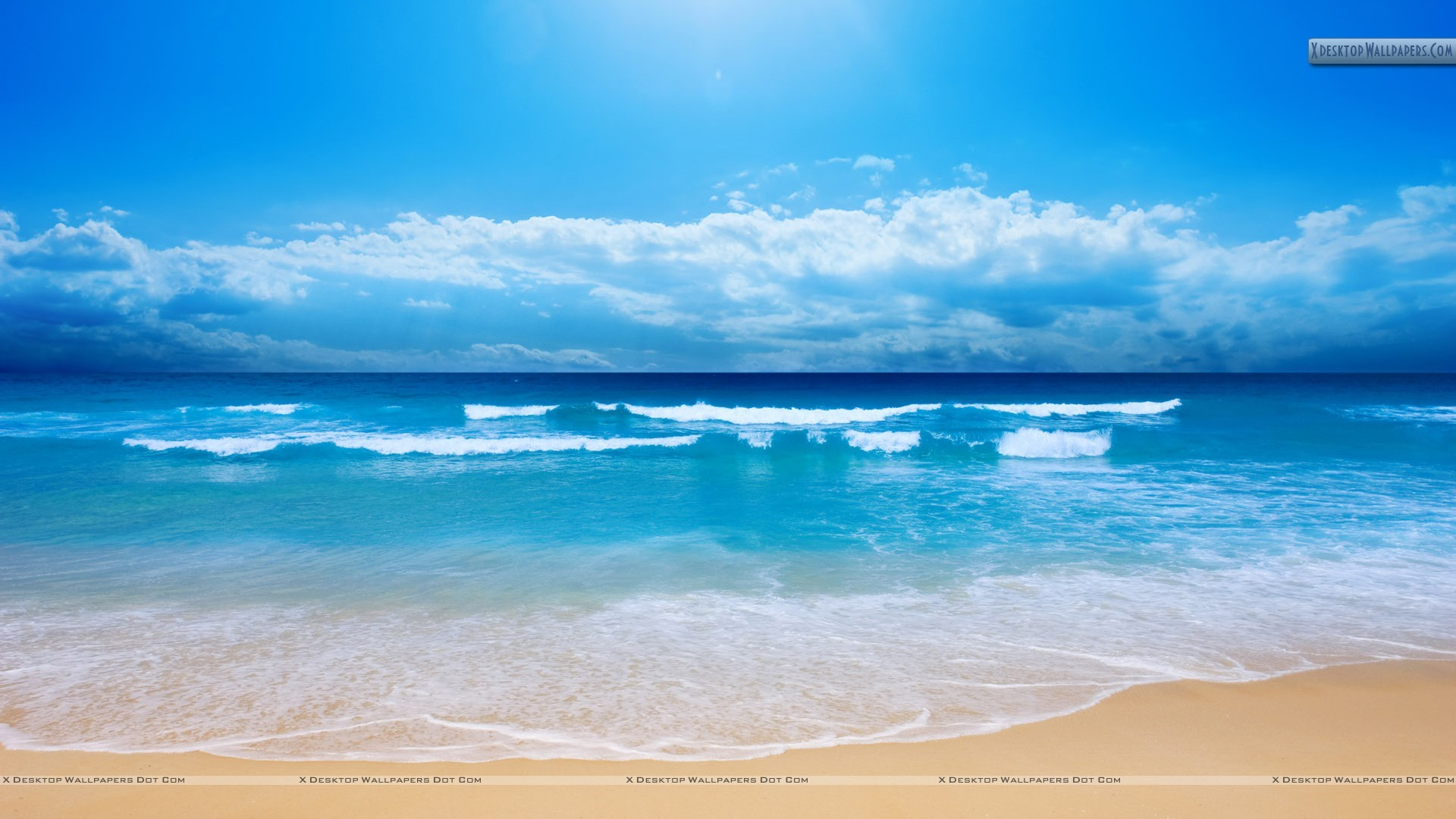 """Res: 1920x1080, You are viewing wallpaper titled """"Cool Blue Sea Shore Scene ..."""