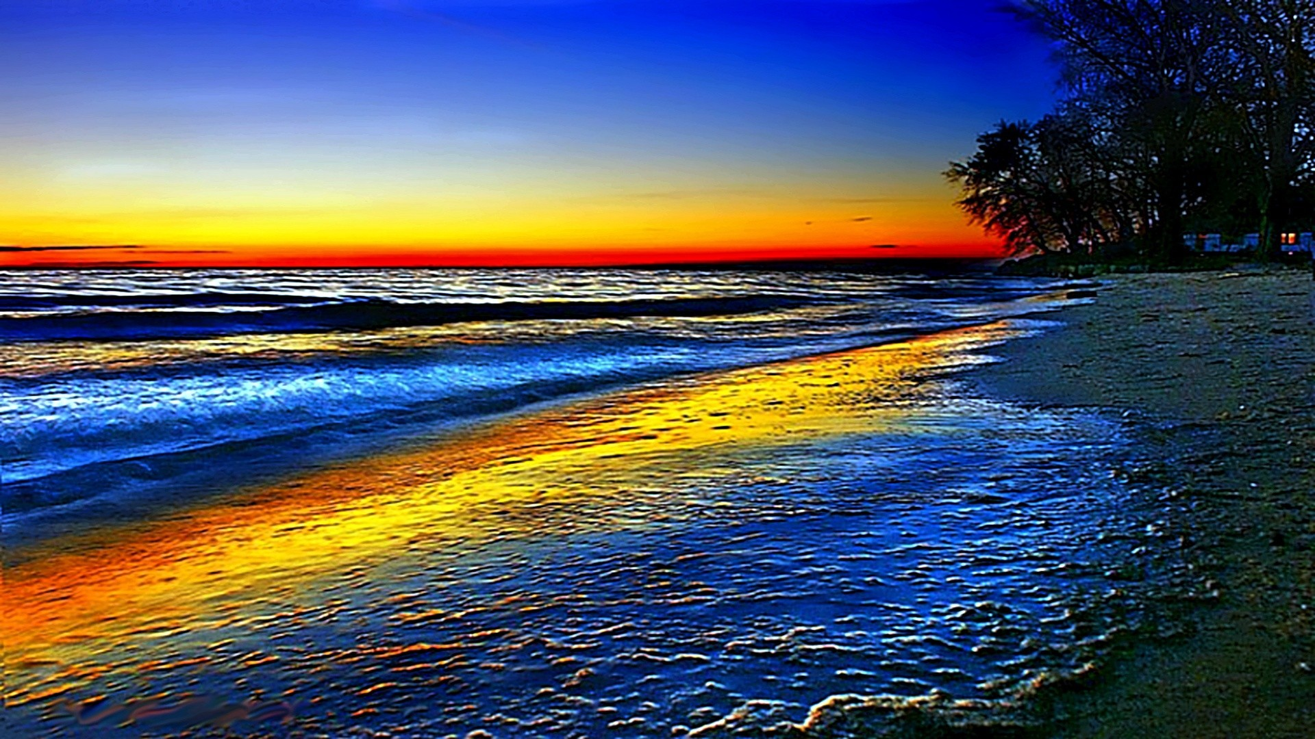 Res: 1920x1080, Ocean Rainbow Trees Wave Sky Beach Colorful Wallpaper Free Download -