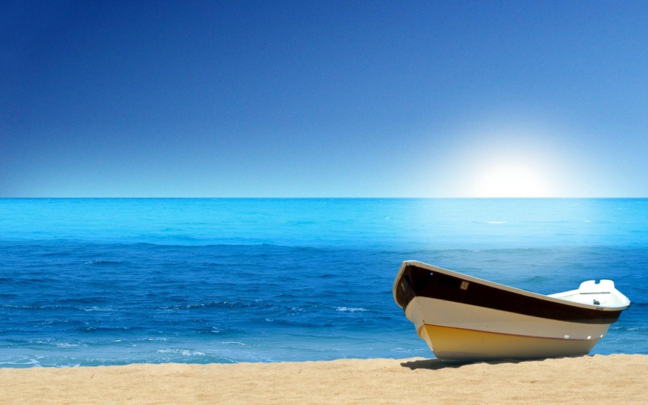 Res: 2560x1600, Boat Blue Ocean Beach Wallpaper.