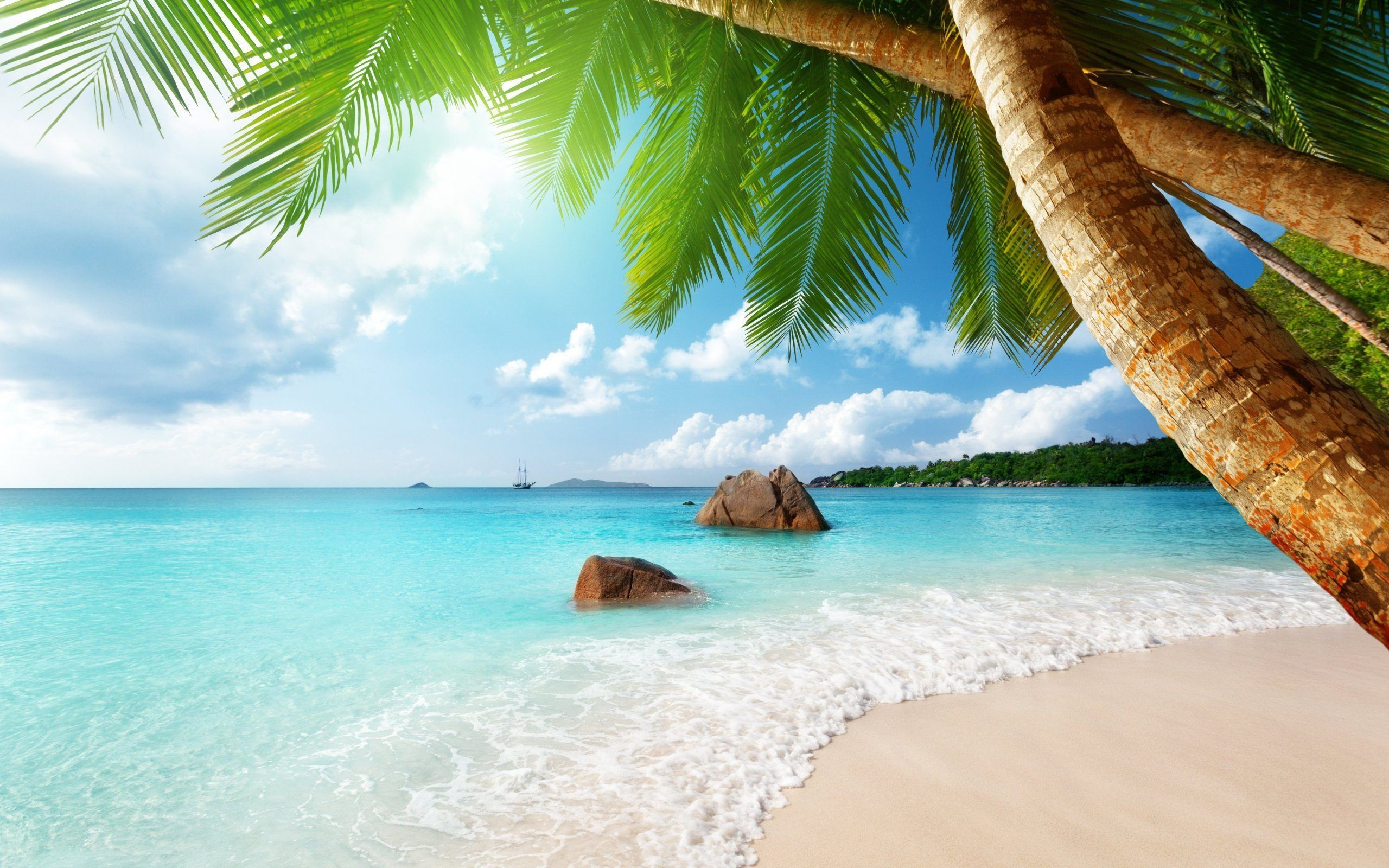 Res: 2560x1600, Beautiful Ocean Beach Landscape Wallpaper HD Download