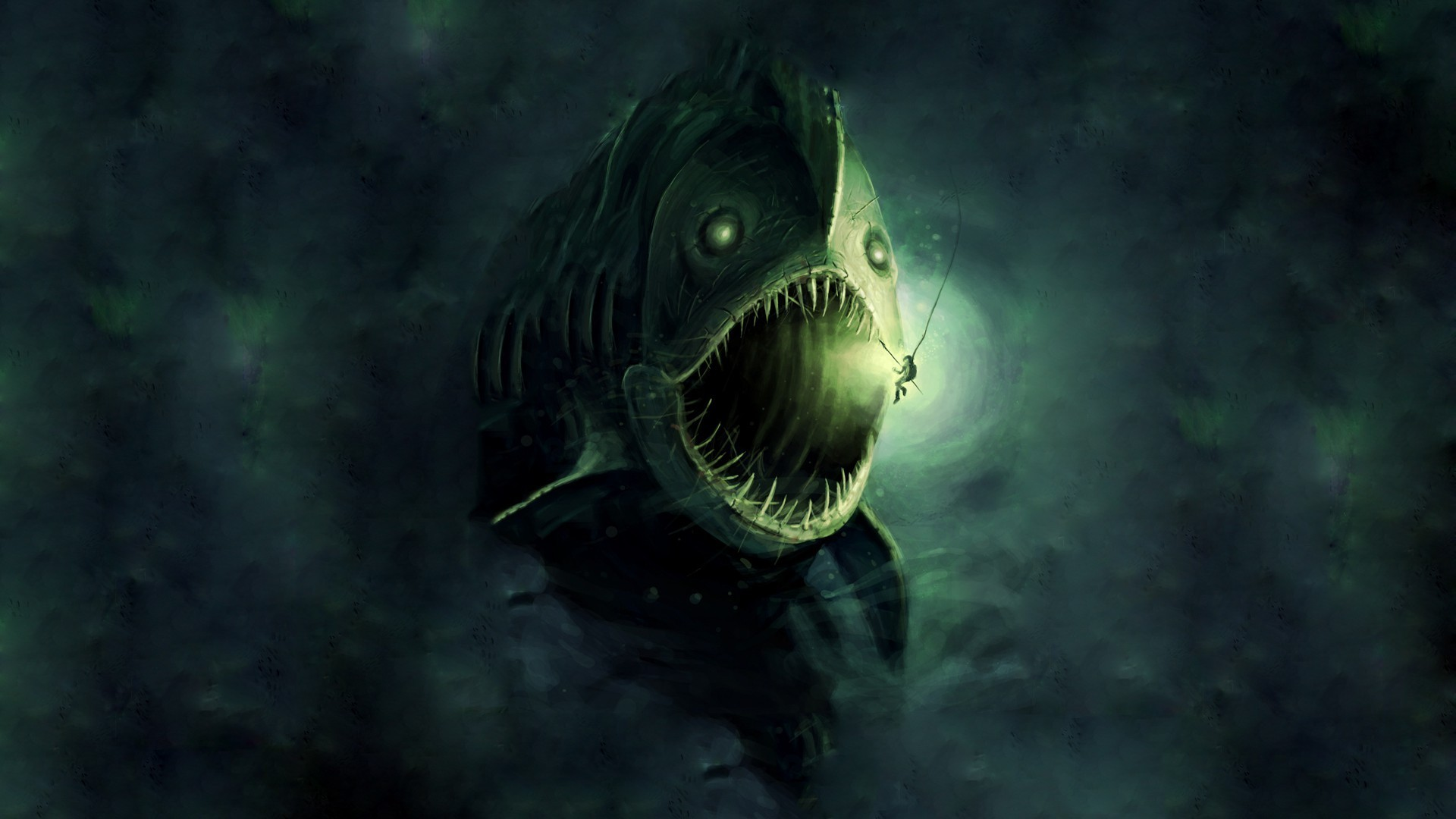 Res: 1920x1080, digital art underwater fish fangs anglerfish lights divers harpoons open  mouth sea monsters painting deep sea wallpaper and background