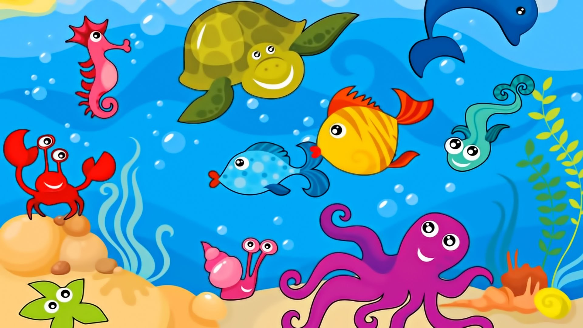 Res: 1920x1080, Perspective Sea Creatures For Kids Pictures Unicorn Pics To Color 6712