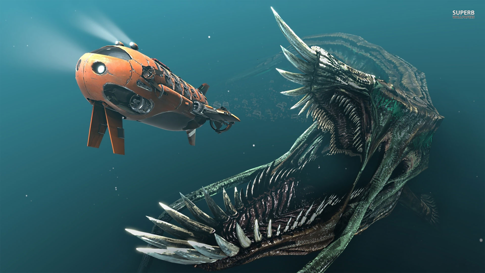 Res: 1920x1080, Deep Sea Monster Chasing Submarine Jpg Wallpaper