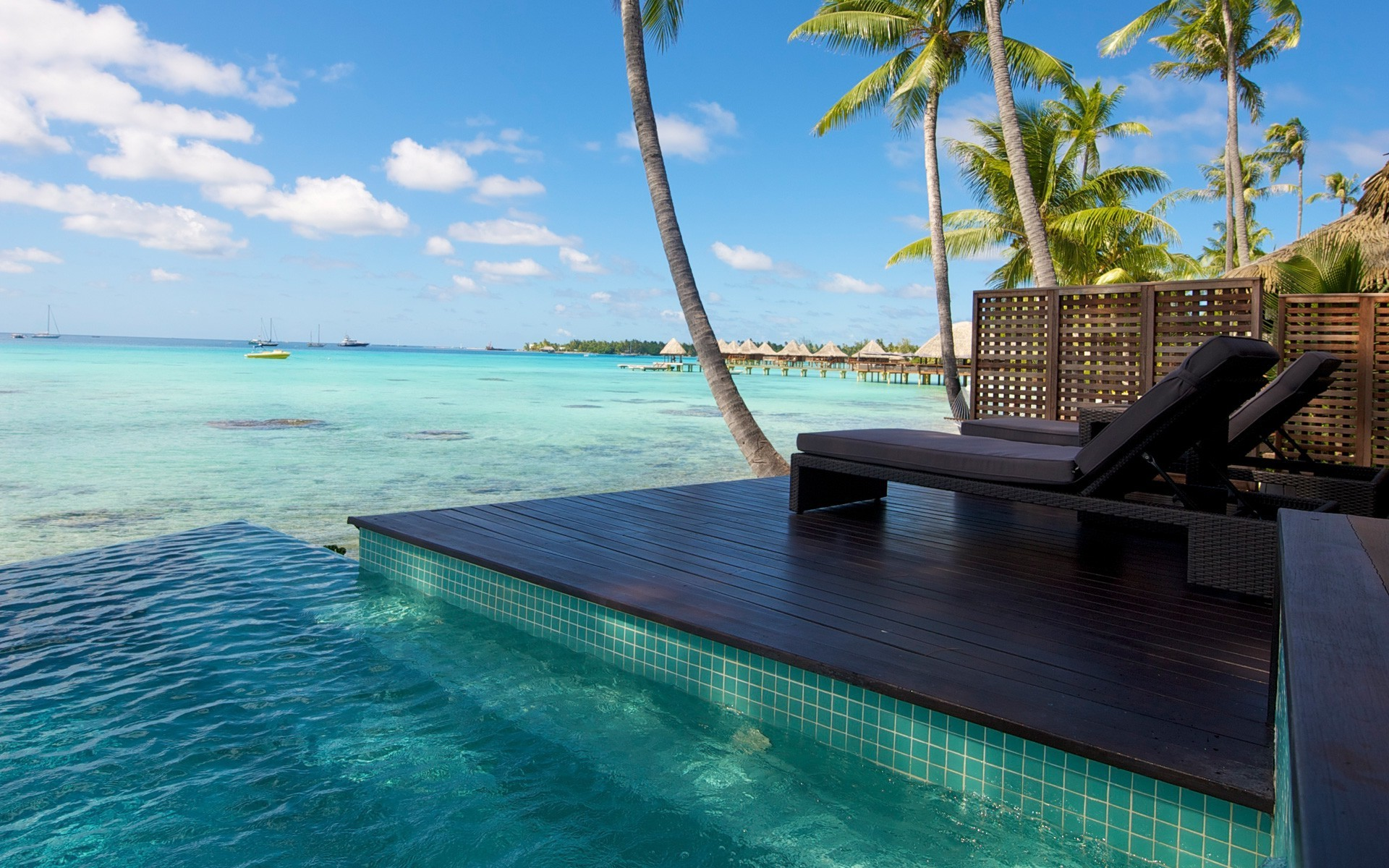 Res: 1920x1200, nature, Landscape, Resort, Beach, Atolls, Palm Trees, Sea, Swimming Pool,  Tropical, Bungalow, Water, Summer Wallpapers HD / Desktop and Mobile  Backgrounds