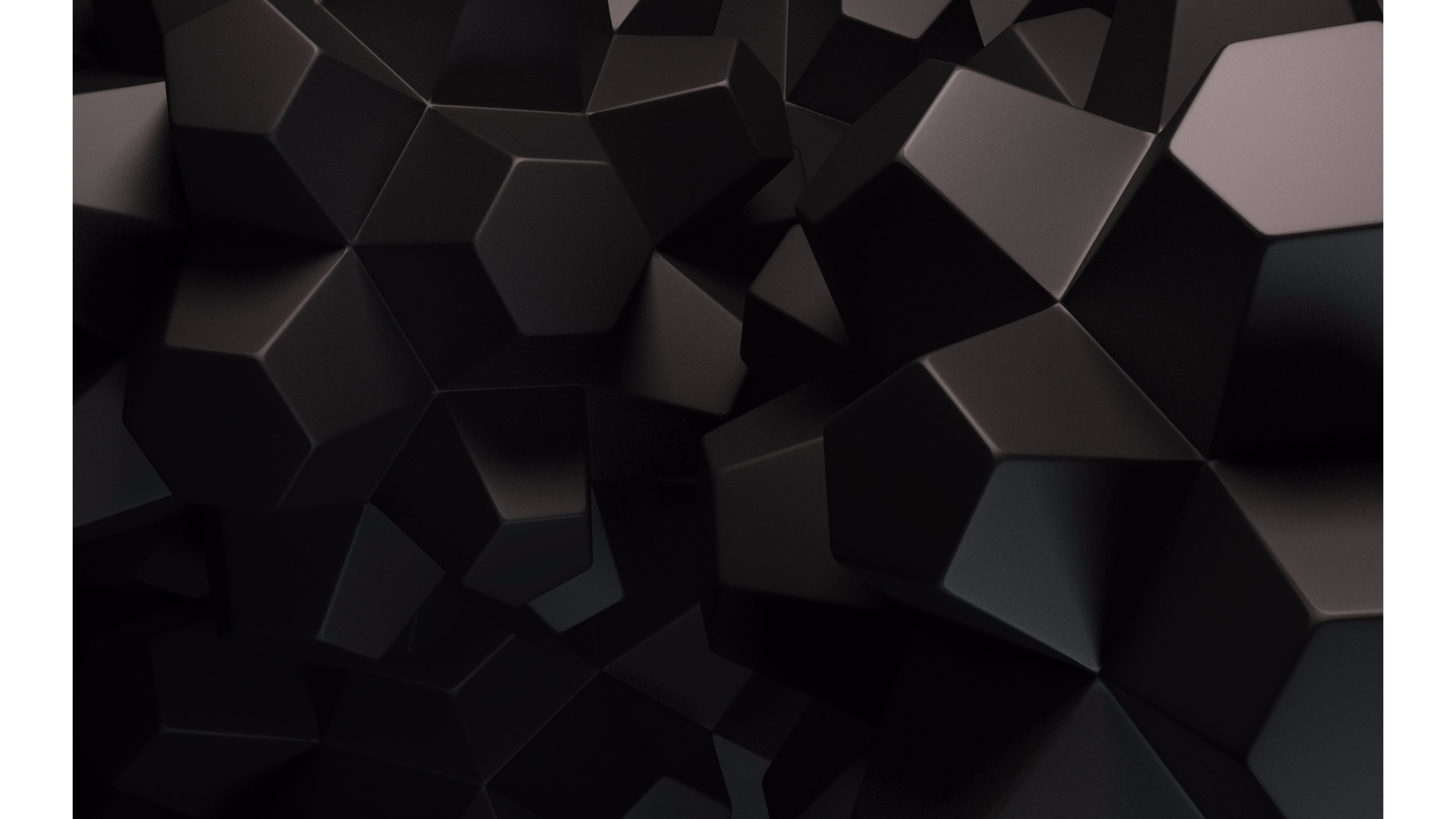 Res: 3840x2160, Black Cubes 4K Abstract Wallpapers
