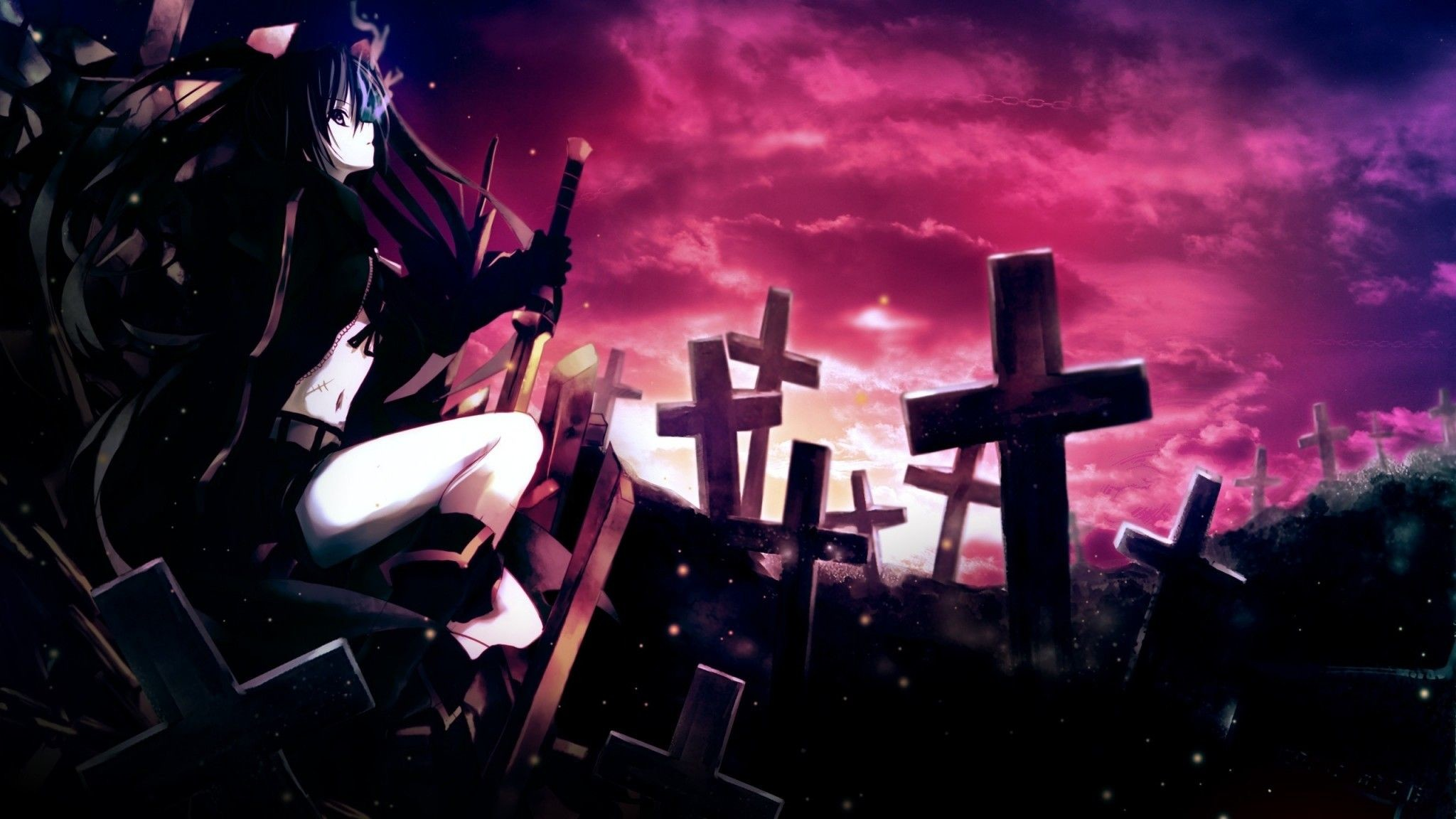 Res: 2048x1152,  Preview wallpaper anime, girl, thoughtful, sword, cemetery,  darkness