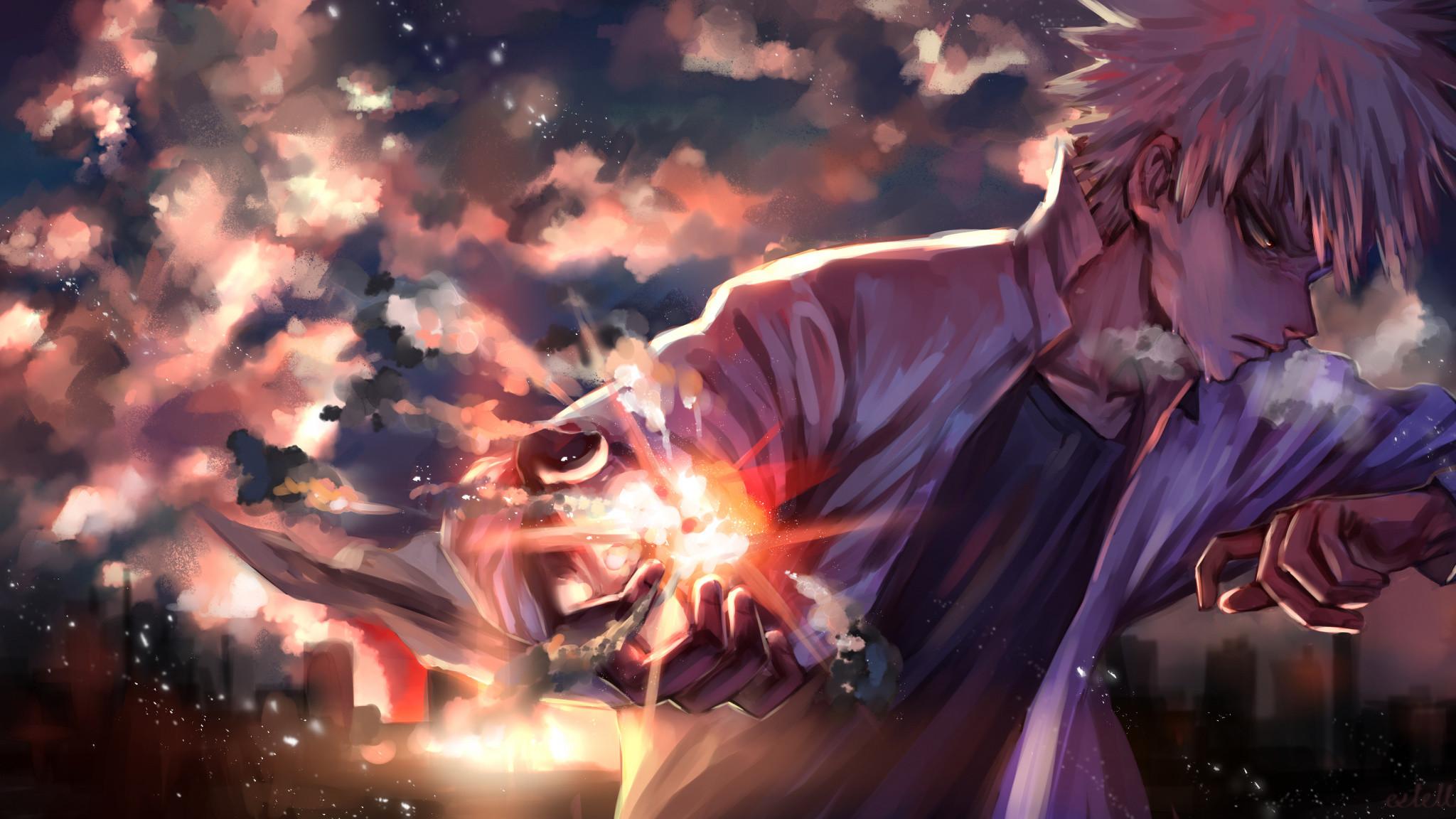 Res: 2048x1152,  wallpaper Boku no hero academia, Katsuki Bakugou, anime boy
