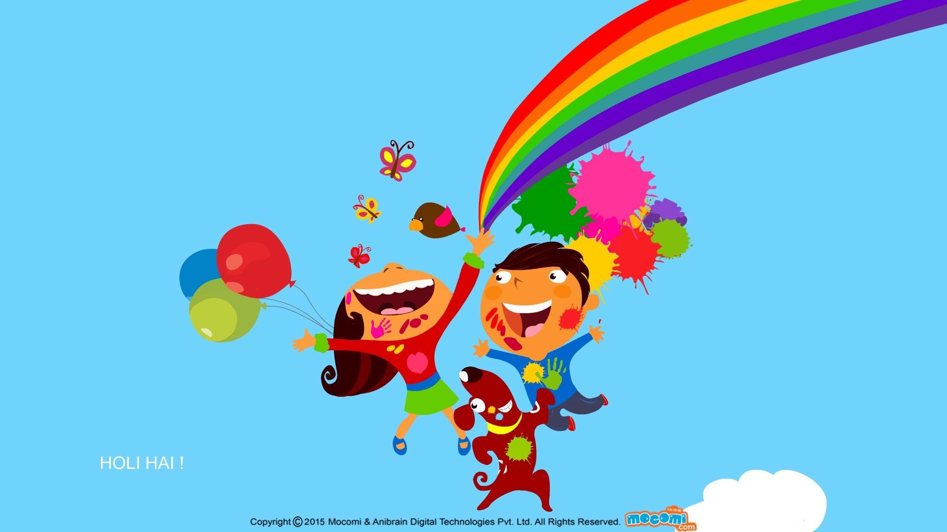 Res: 1920x1080, Holi fun - Desktop Wallpapers for kids | Mocomi