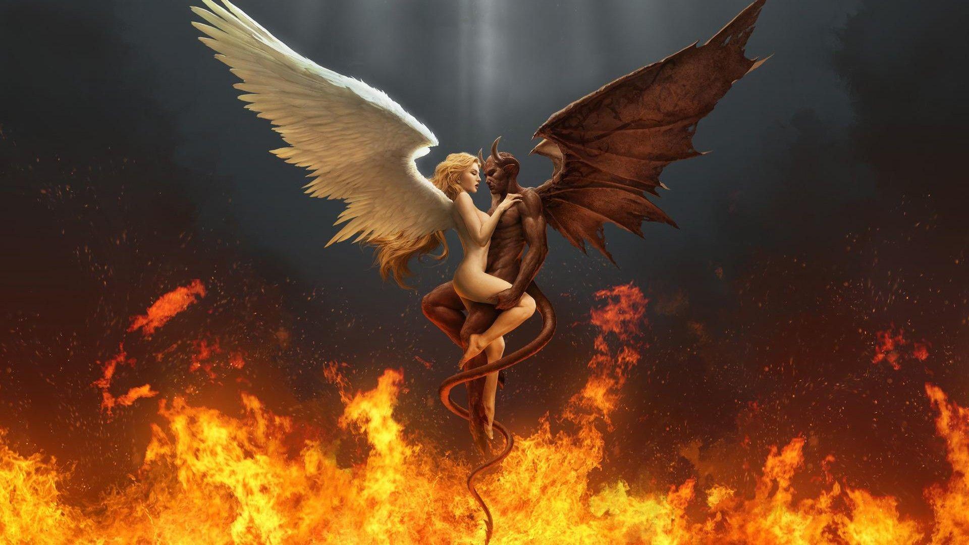 Res: 1920x1080, Scary Demon Wallpaper | ... Digital Art HD Fire Demon Angel Wallpaper -  WallpaperTube