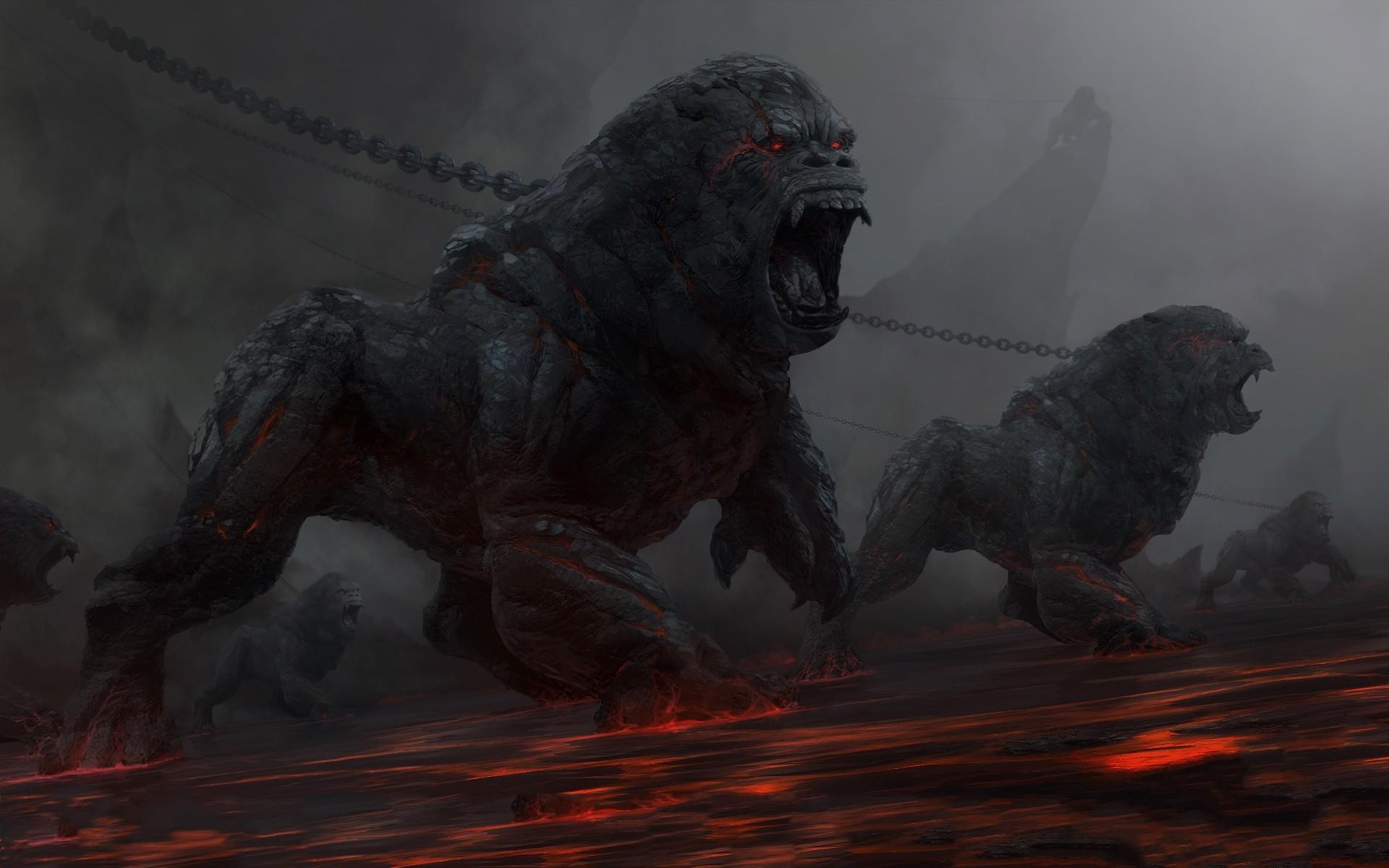 Res: 1920x1200, Fantasy art dark horror evil demons gorilla animals fire hell chains  monsters beast creature eyes scream roar landscapes scary wallpaper |   | 32287 ...