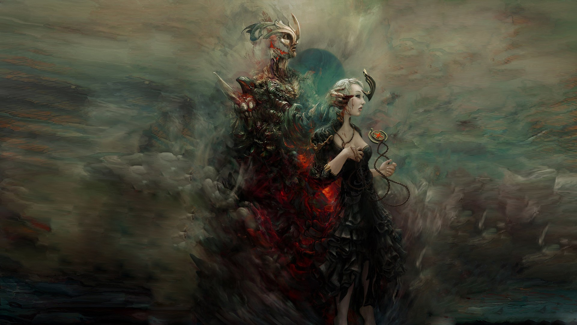 Res: 1920x1080, Rafael Sarmento dark demon satan hell occult horror scary creepy spooky  necklace talisman macabre evil art artistic horns wallpaper |  |  26580 | ...