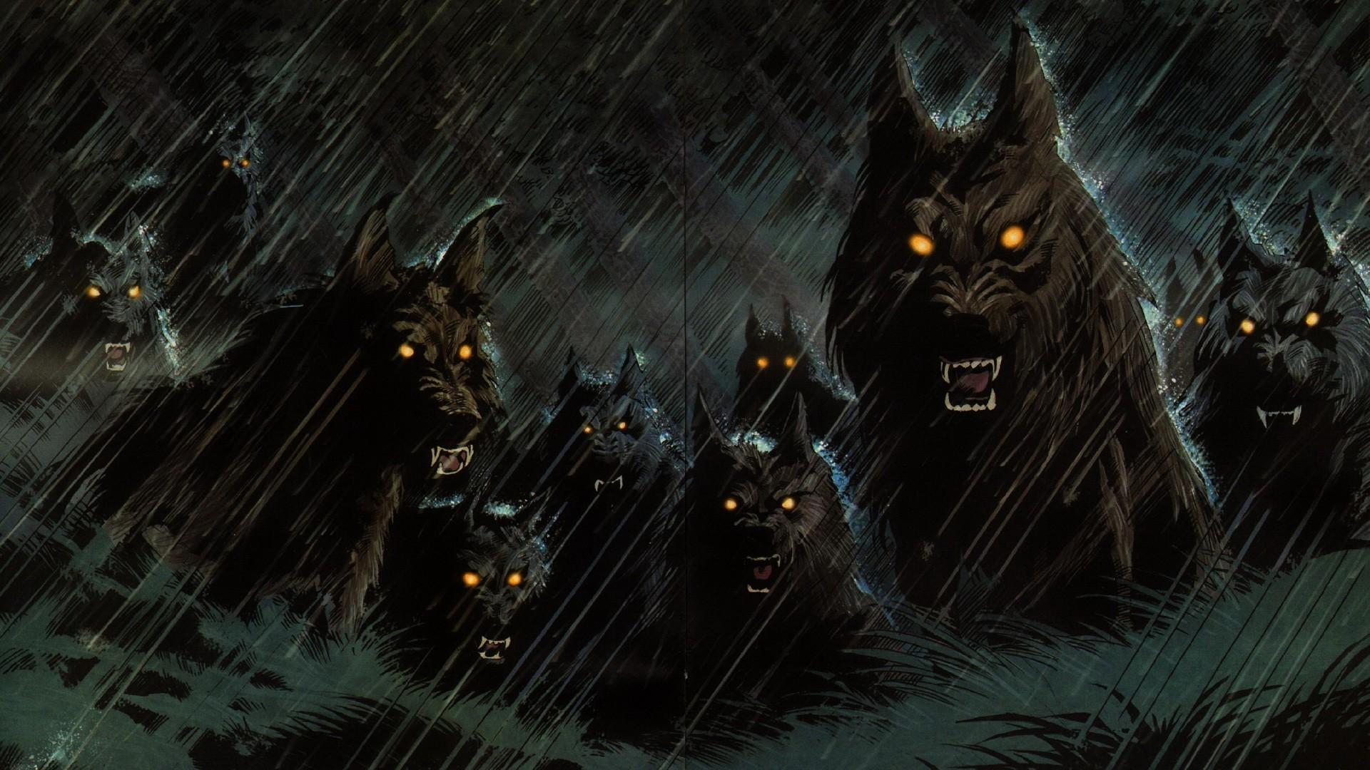 Res: 1920x1080, Dark werewolf hellhound animals wolf wolves fangs demons evil fantasy  predator horror creepy spooky storm rain halloween wallpaper |  |  25972 | ...