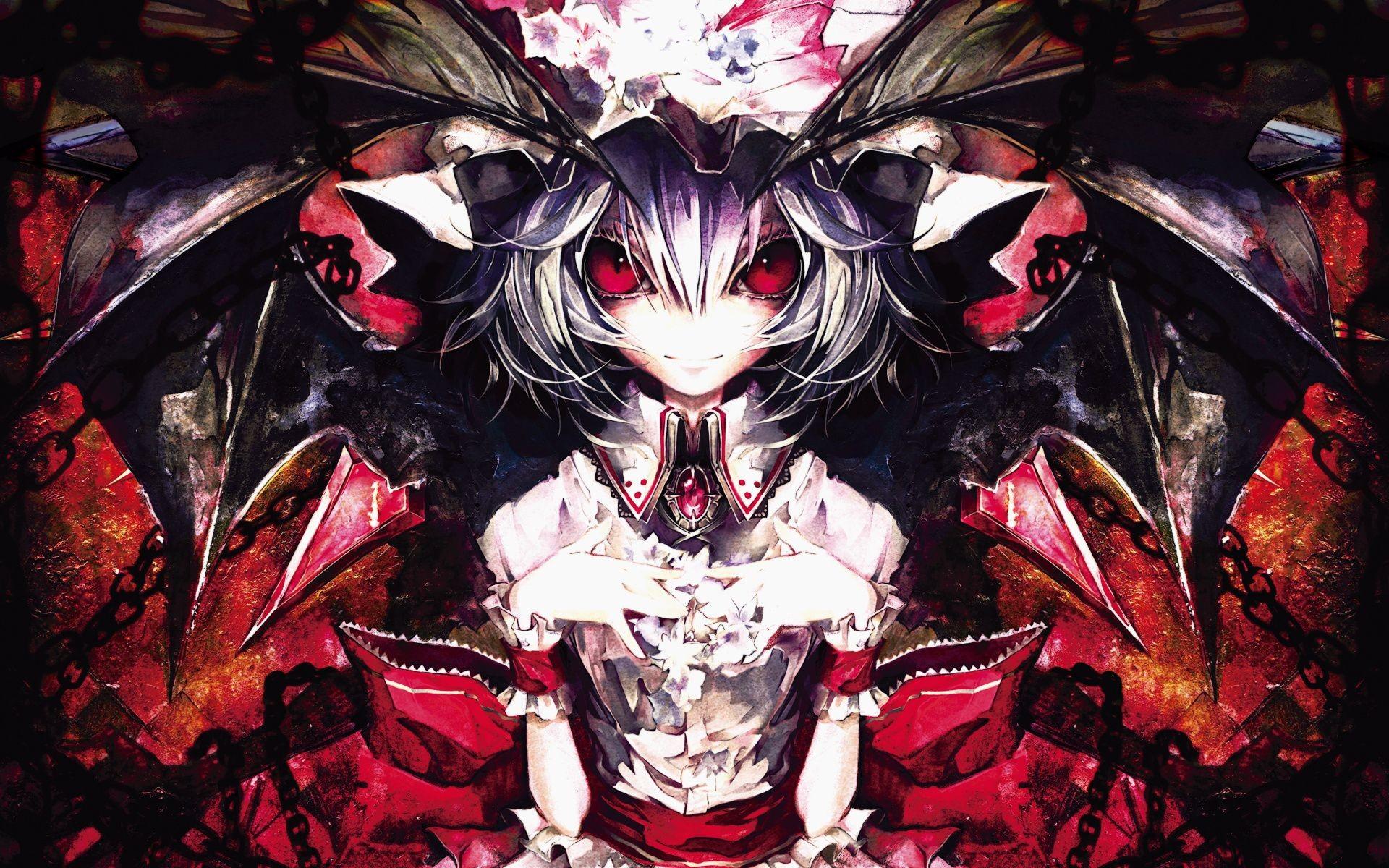 Res: 1920x1200, Scary Anime Girl | ... Cuffs Hats Remilia Scarlet Anime Girls Banpai Akira  Fresh