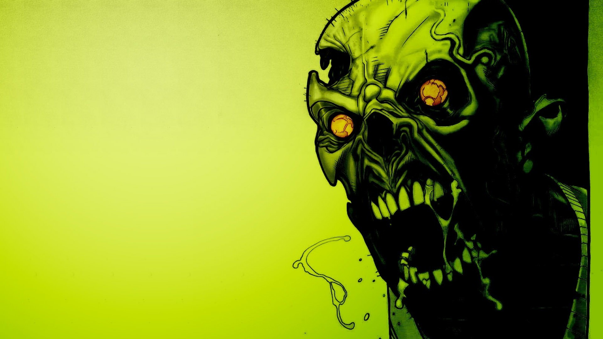 Res: 1920x1080, Full Hd Background of Scary Green Skull