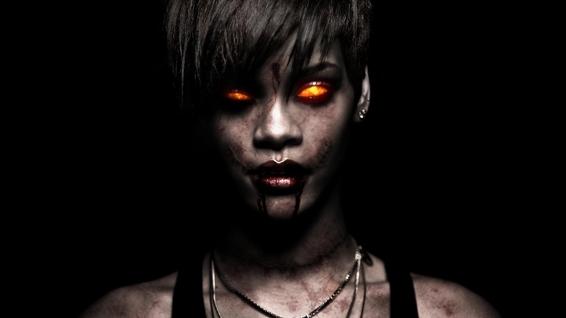 Res: 1920x1080, Rihanna Brunette Zombie Demon Creepy face eyes singer musician women