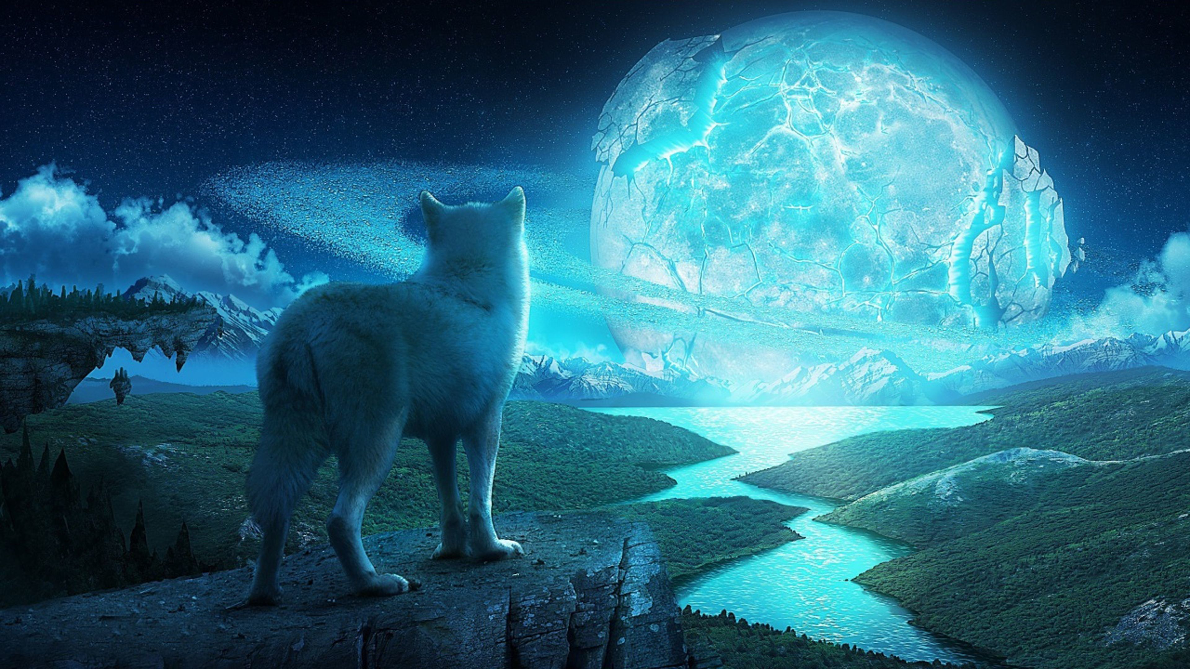 Res: 3840x2160, The mystical wolf fantasy wallpaper background picture #wolf #animal  #fantasy