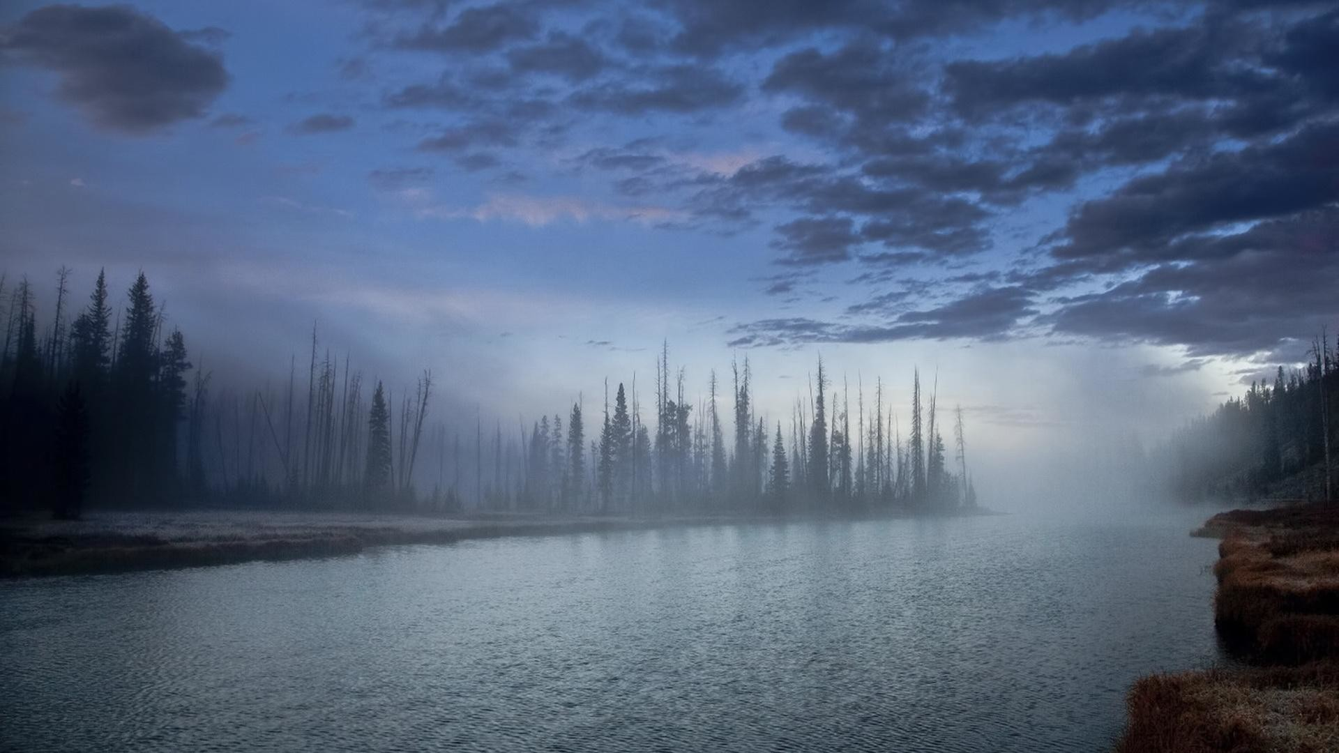 Res: 1920x1080,  mystical river at dusk clouds wallpapers full HD 1080p desktop  backgrounds