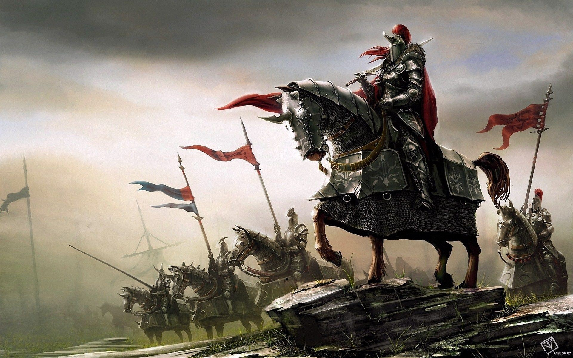 Res: 1920x1200, Fantasy Art Knights Warriors Horses HD Wallpaper - FreeHDWalls