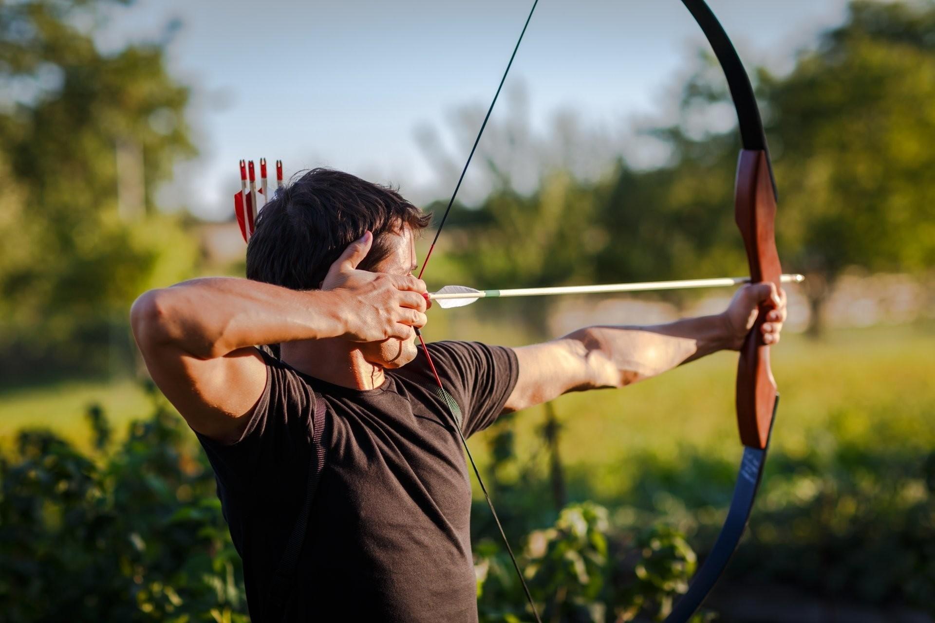 Res: 1920x1280, Title : archery bow arrow pointing man hd wallpaper. Dimension : 1920 x  1280. File Type : JPG/JPEG
