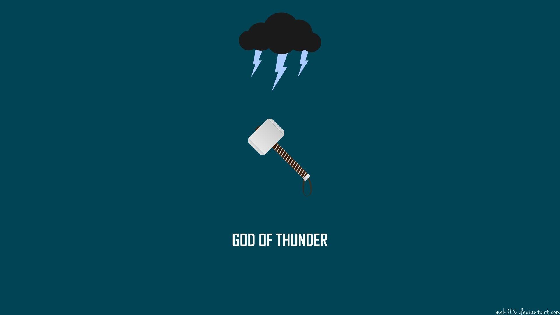 Res: 1920x1080,  Thor Hammer Mjolnir Marvel Minimal Cloud Lightning HD Wallpaper